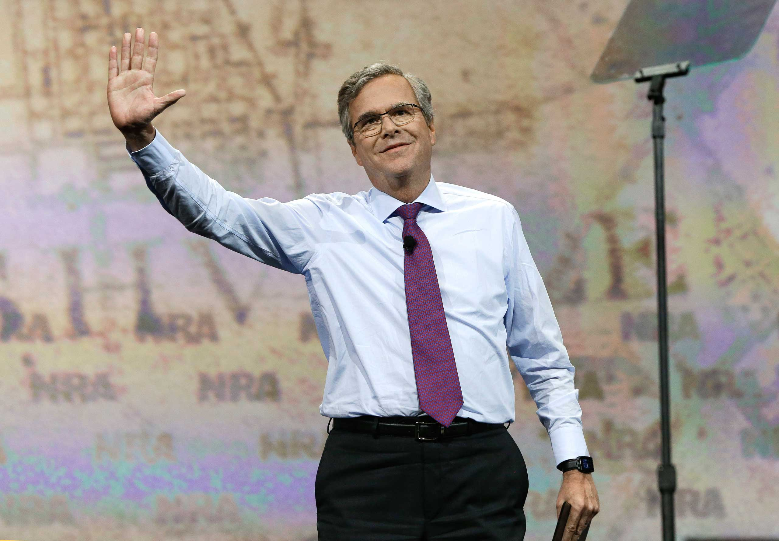 Former Florida Gov. Jeb Bush speaks at the National Rifle Association convention in Nashville on April 10, 2015.