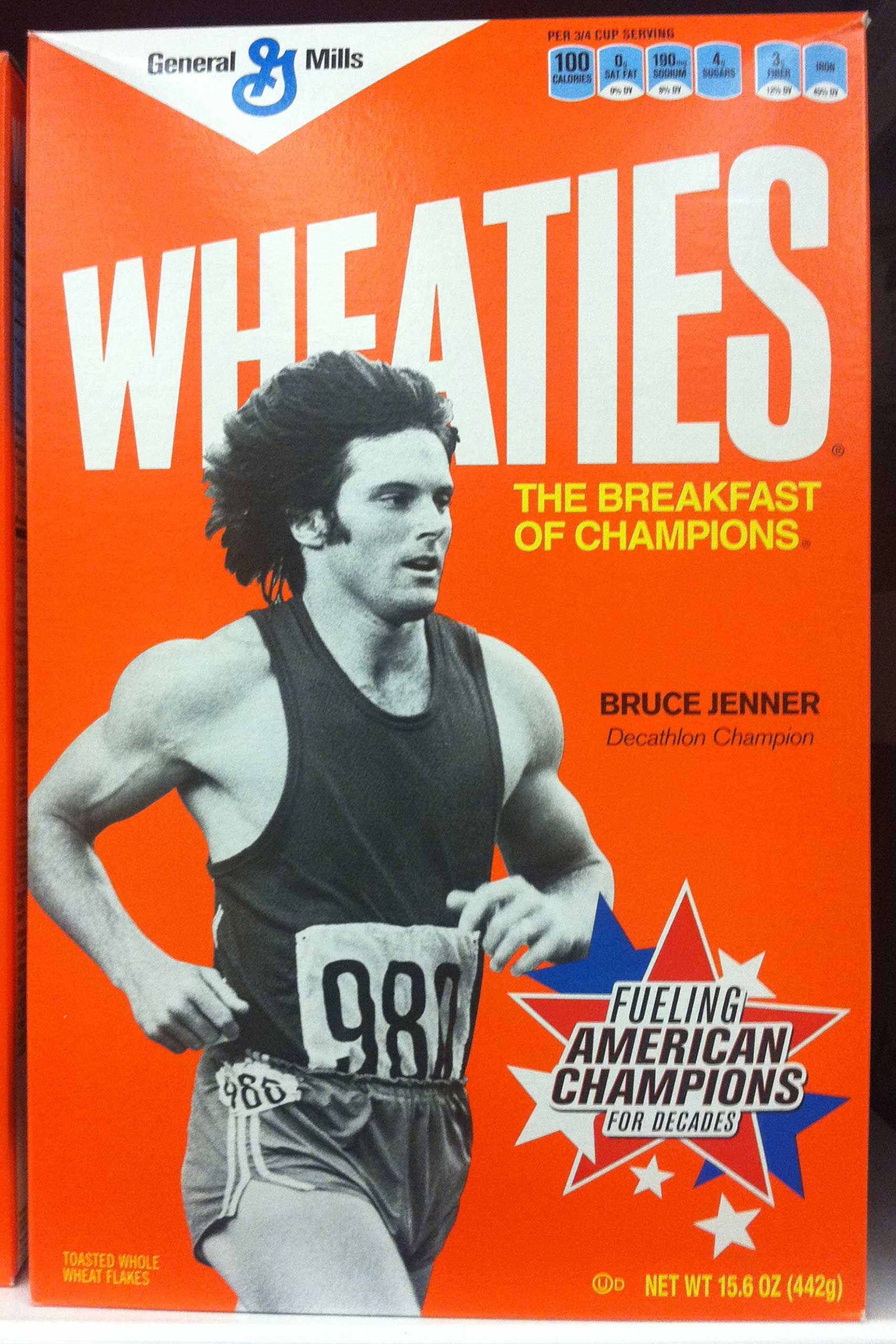 Bruce Jenner finds his way onto the breakfast tables of America. The 'Keeping Up with the Kardashians' star is shown in his youthful glory on the front cover of 'Wheaties' cereal boxes on sale now.