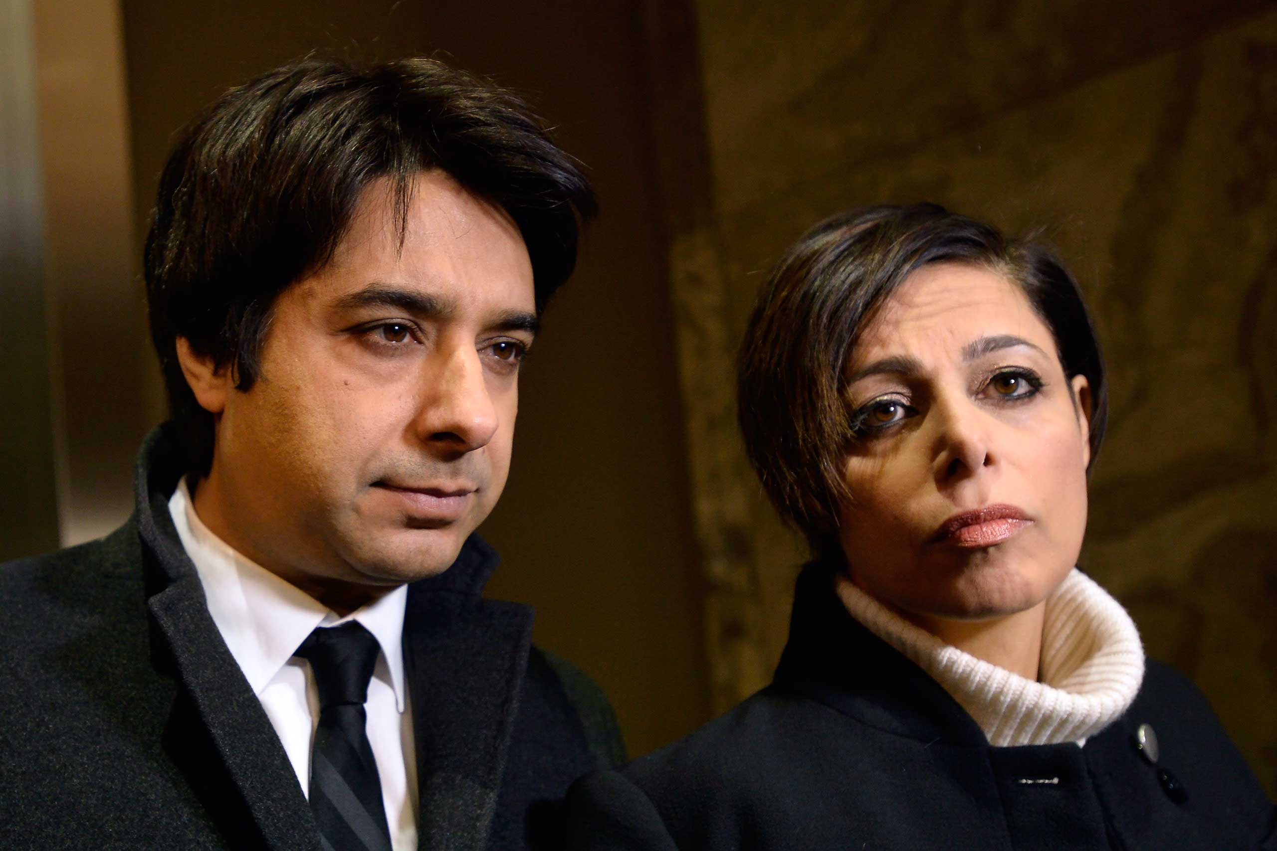Former CBC radio host Jian Ghomeshi, left, and his lawyer, Marie Henein, arrive at court in Toronto on Jan. 8, 2015.