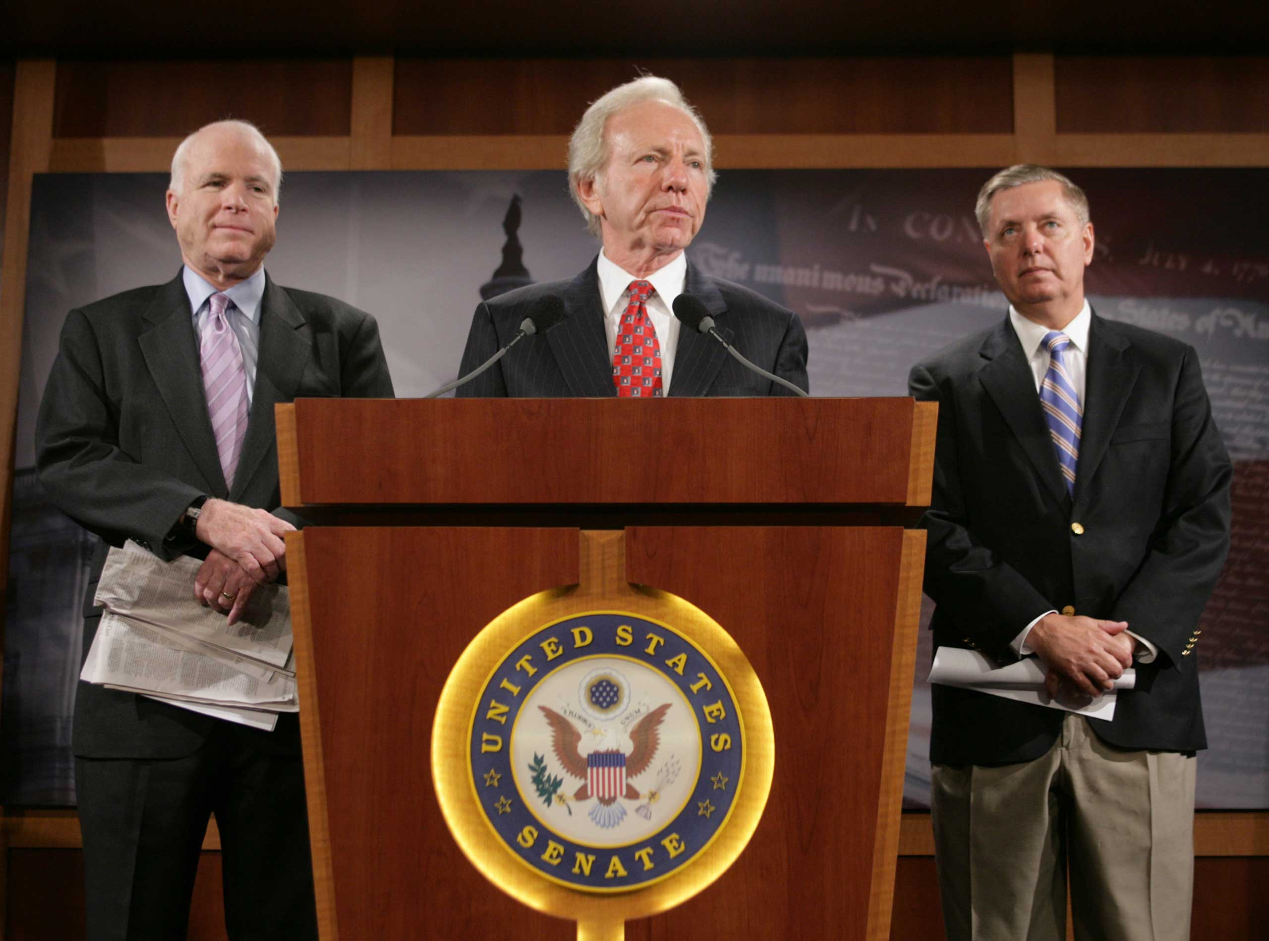 The three Senators, shown here in 2009, often appeared at each other's press conferences.