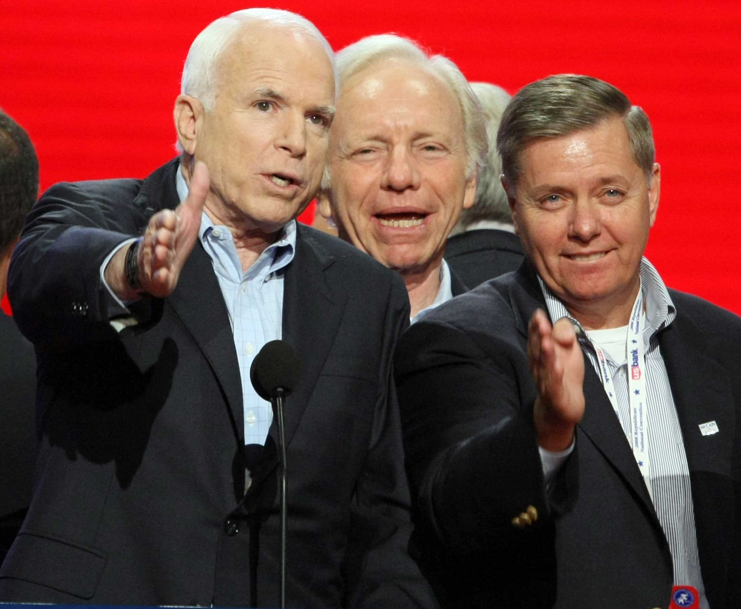 Though they have different temperaments, the three Senators have an easygoing rapport that's clear when they are together, as in this 2008 walk-through of the GOP national convention stage.