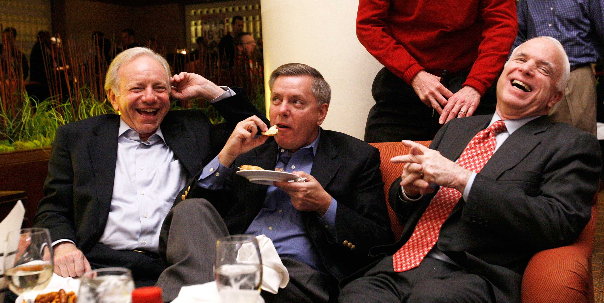 The three Senators watched the Super Bowl in a hotel lobby bar during the 2008 campaign.