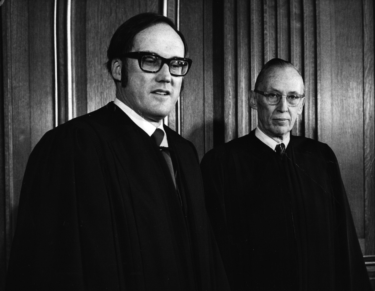 The two new Associate Justices of the US Supreme Court after being sworn in, William Rehnquist (left) and Lewis F Powell, on Jan. 11, 1972