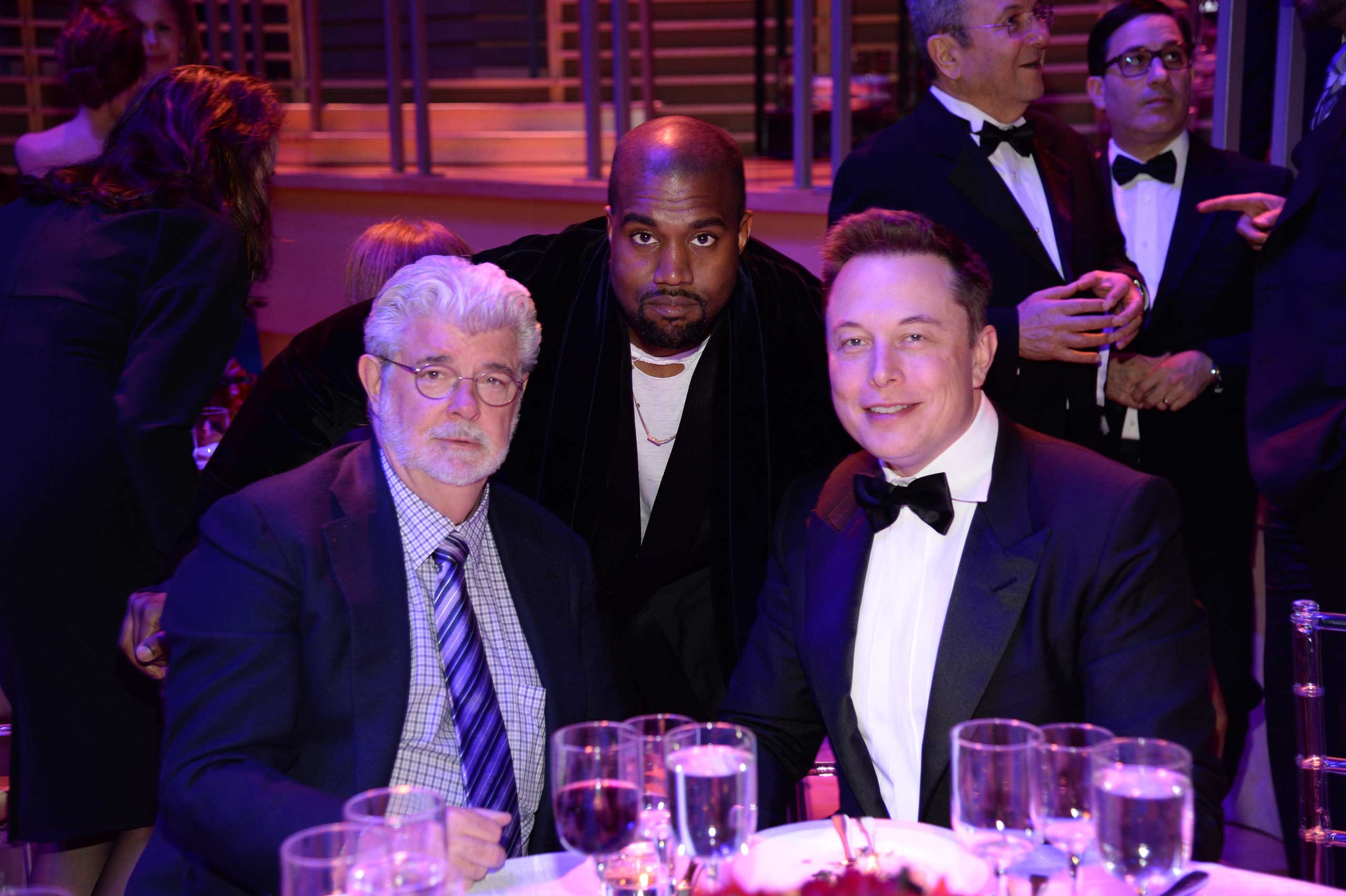 George Lucas, Kanye West, and Elon Musk attend the TIME 100 Gala at Jazz at Lincoln Center in New York City on April 21, 2015.