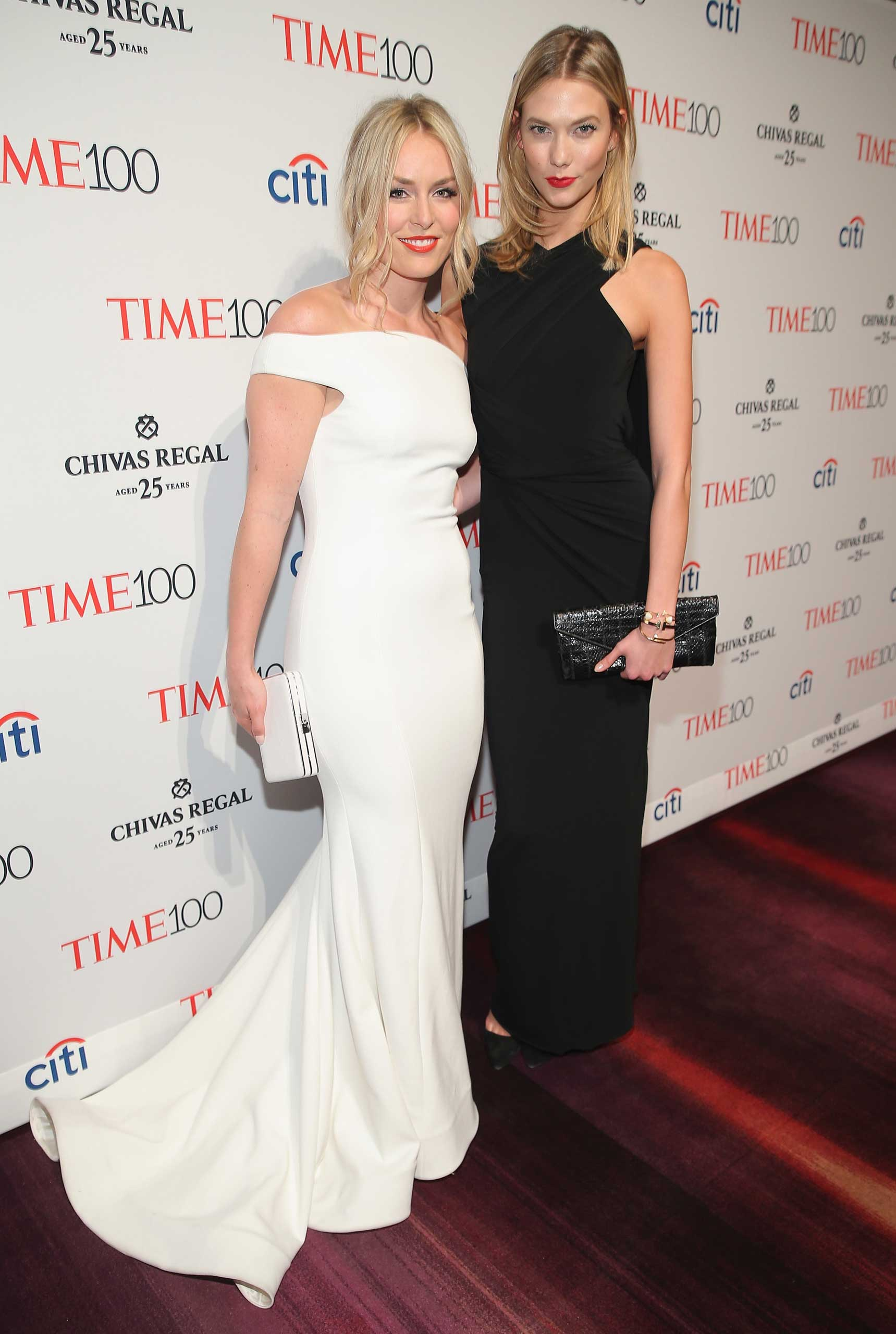 Lindsey Vonn and Karlie Kloss attend the TIME 100 Gala at Jazz at Lincoln Center in New York City on April 21, 2015.