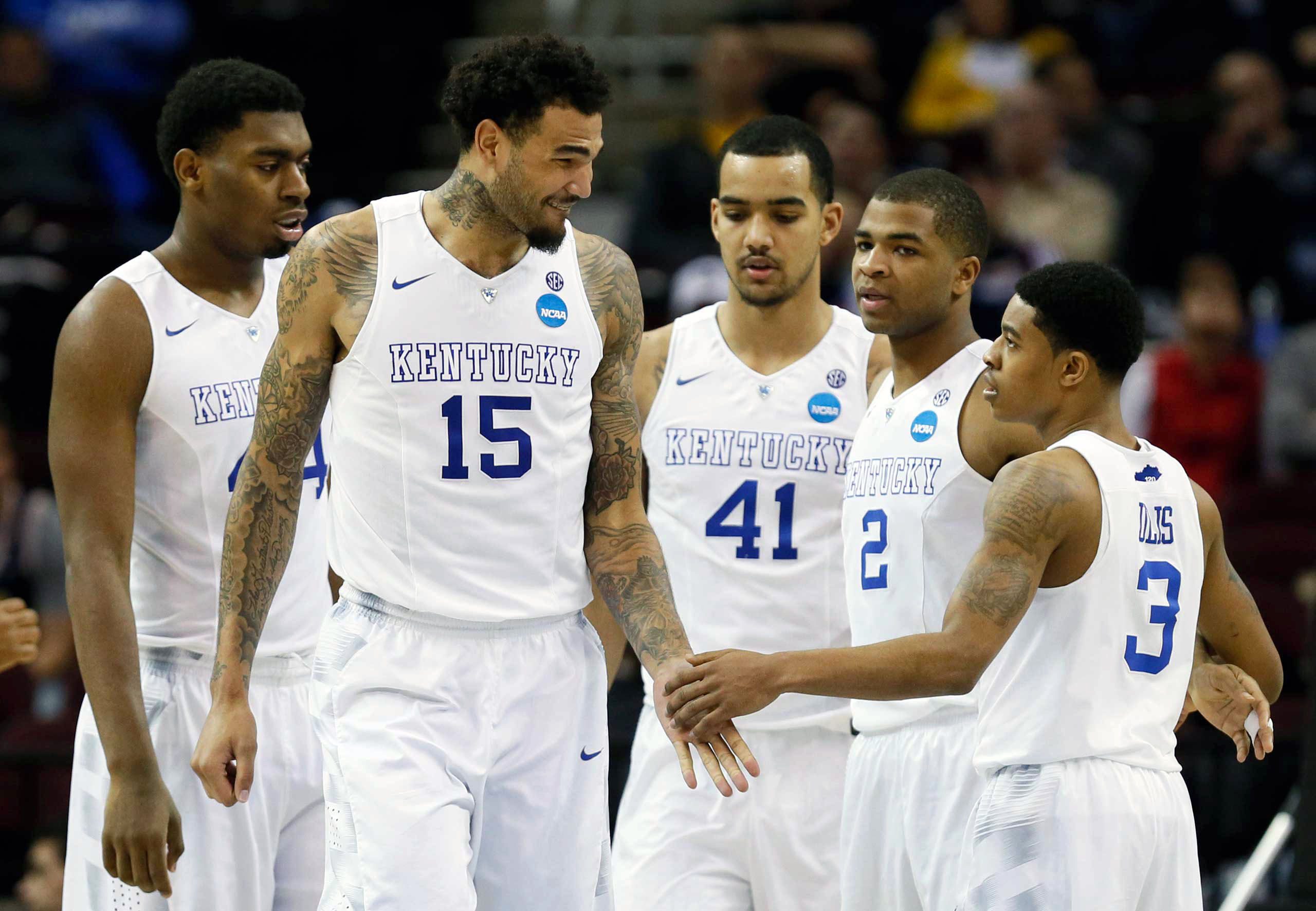 The Kentucky Wildcats won against the West Virginia Mountaineers in the semifinals of the midwest regional of the 2015 NCAA Tournament at Quicken Loans Arena in Cleveland on March 26, 2015.