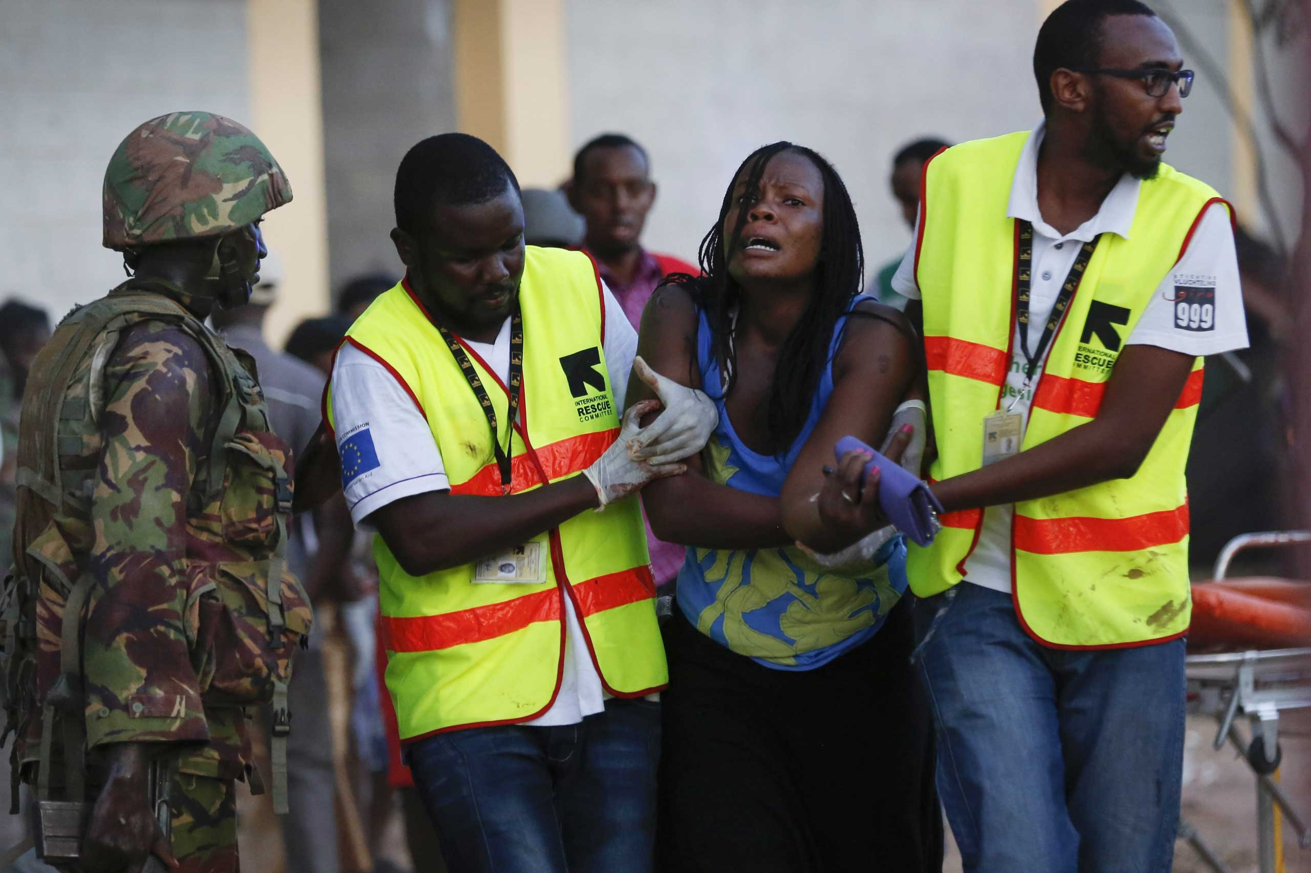 A woman reacts as she is rescued from where she had been held hostage after militants rampaged Garissa University College, in northeastern Kenya, on April 2, 2015.