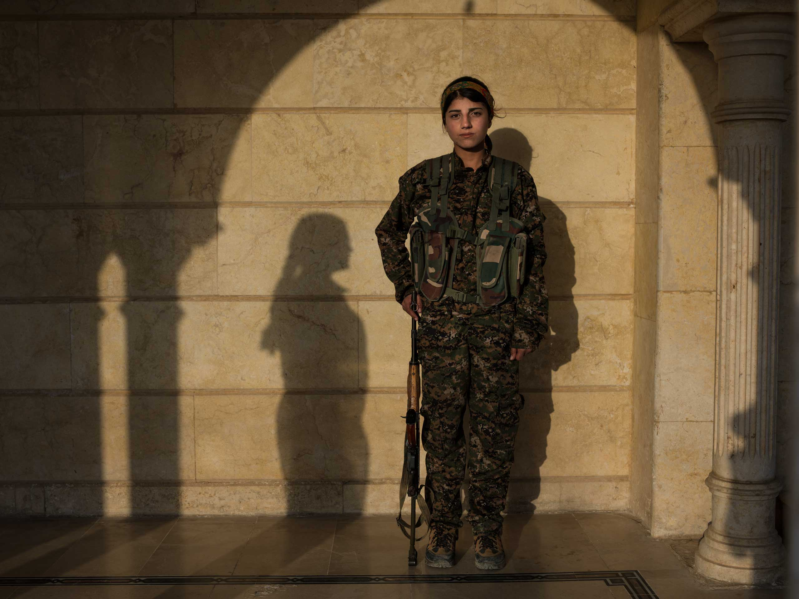 "16 year-old YPJ fighter Barkhodan Kochar from Darbasi, Syria:                                    ""The war influenced me a lot. Before joining YPJ, whenever I asked my family about politics, they'd say 'that's not your business, you're just a girl'. But when I saw how the women of YPJ gave their lives for what they believed in, I knew that I wanted to be one of them."""