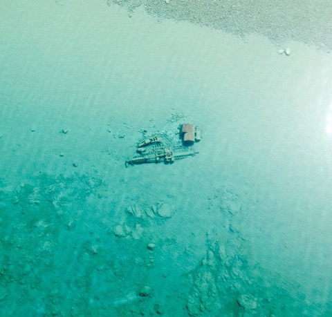 This shipwreck photo released by the U.S. Coast Guard was taken April 17, 2015, in northern Lake Michigan, near Leland, Mich., off the Sleeping Bear Dunes National Lakeshore.
