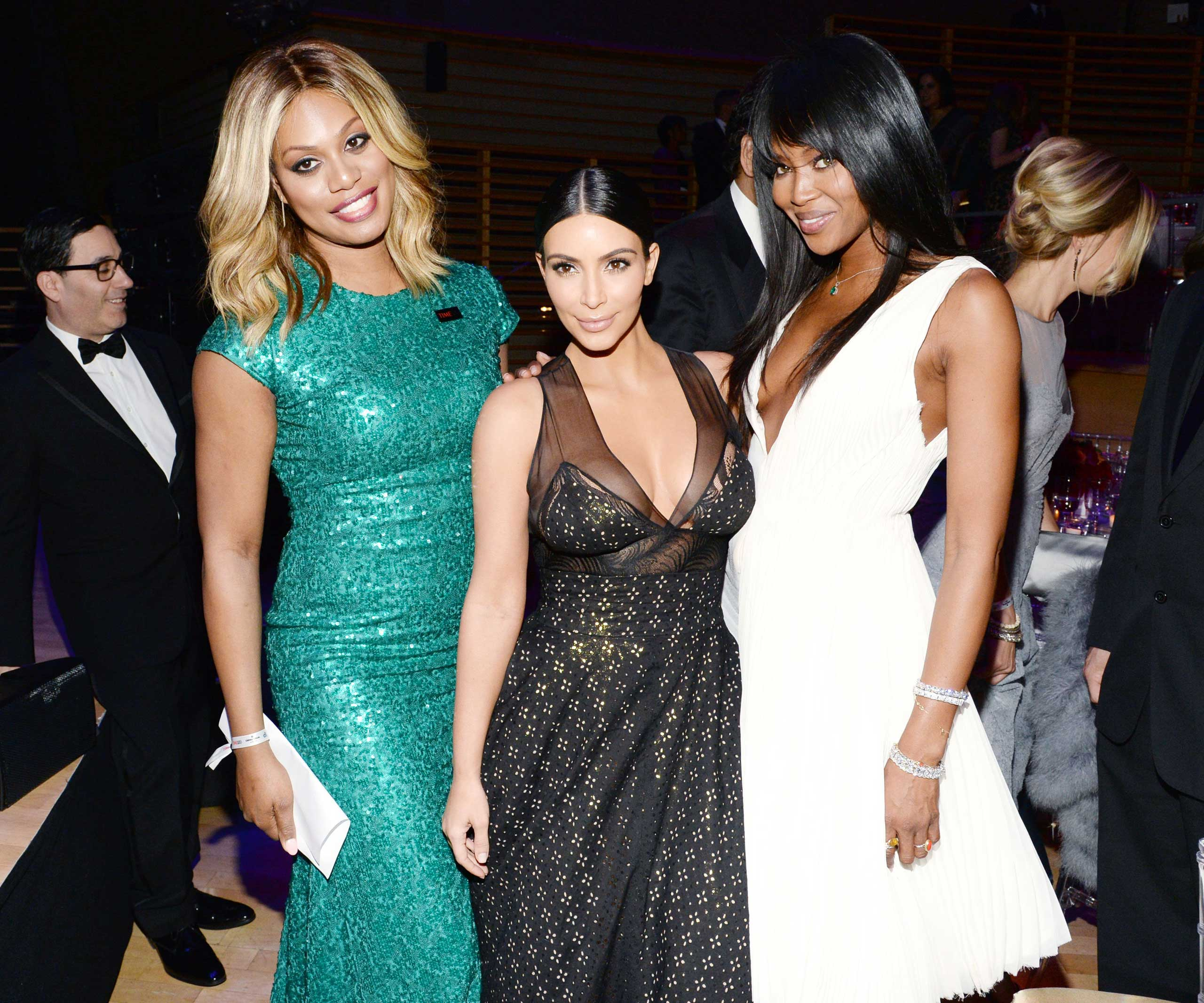 Laverne Cox, Kim Kardashian and Naomi Campbell attend the TIME 100 Gala at Jazz at Lincoln Center in New York City on April 21, 2015.