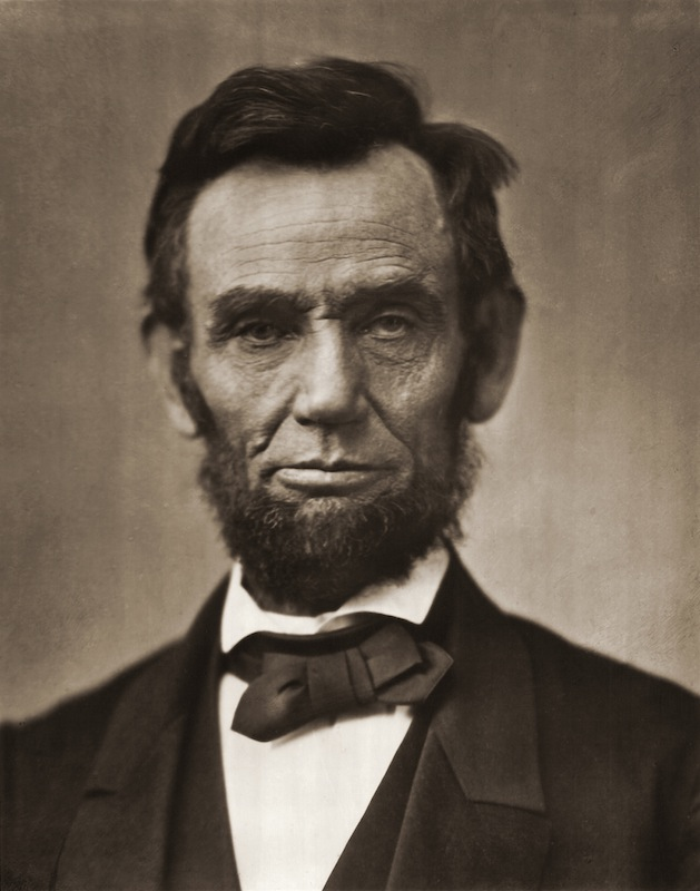 Abraham Lincoln (1809-1865) posed for a formal portrait, mid-19th century.