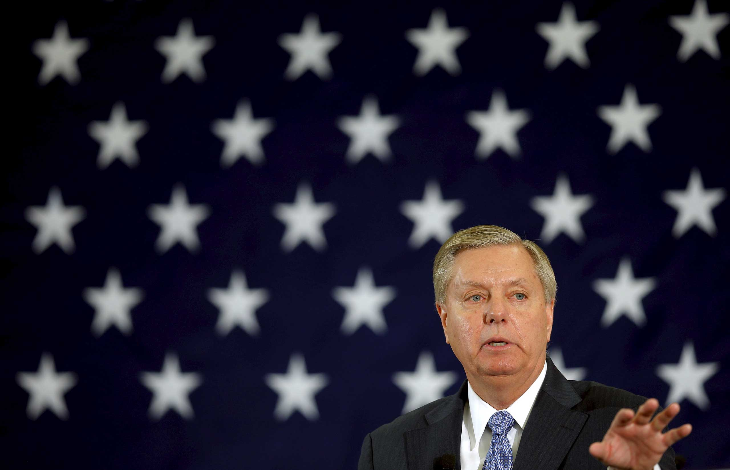 Potential Republican 2016 presidential candidate U.S. Senator Lindsey Graham (R-SC) speaks at the First in the Nation Republican Leadership Conference in Nashua, New Hampshire, April 18, 2015.