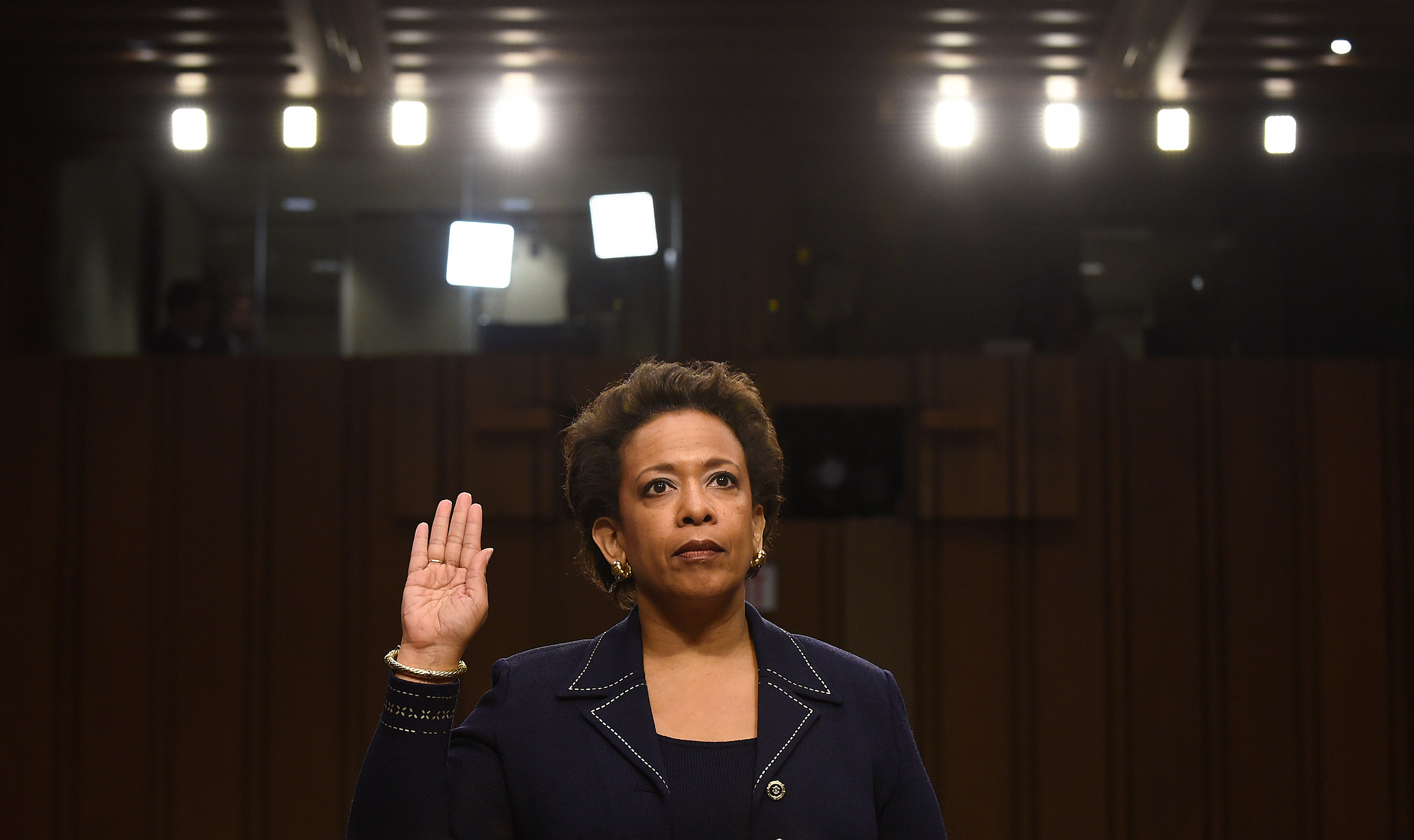 Attorney General nominee Loretta Lynch is sworn in on Capitol Hill in Washington on Jan. 28, 2015 prior to testifying before the Senate Judiciary Committee's hearing on her nomination.