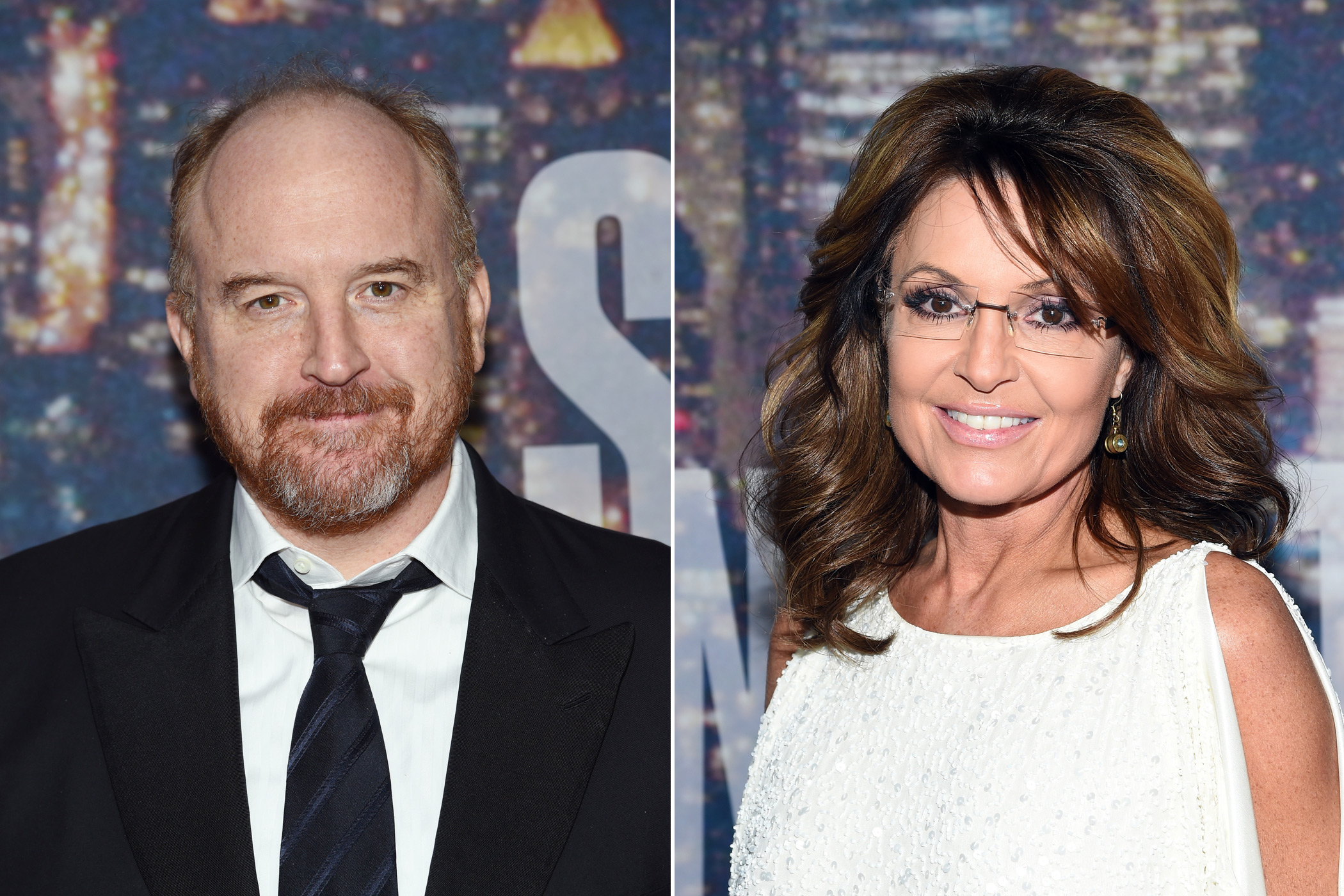 From left: Louis C.K. and Sarah Palin
