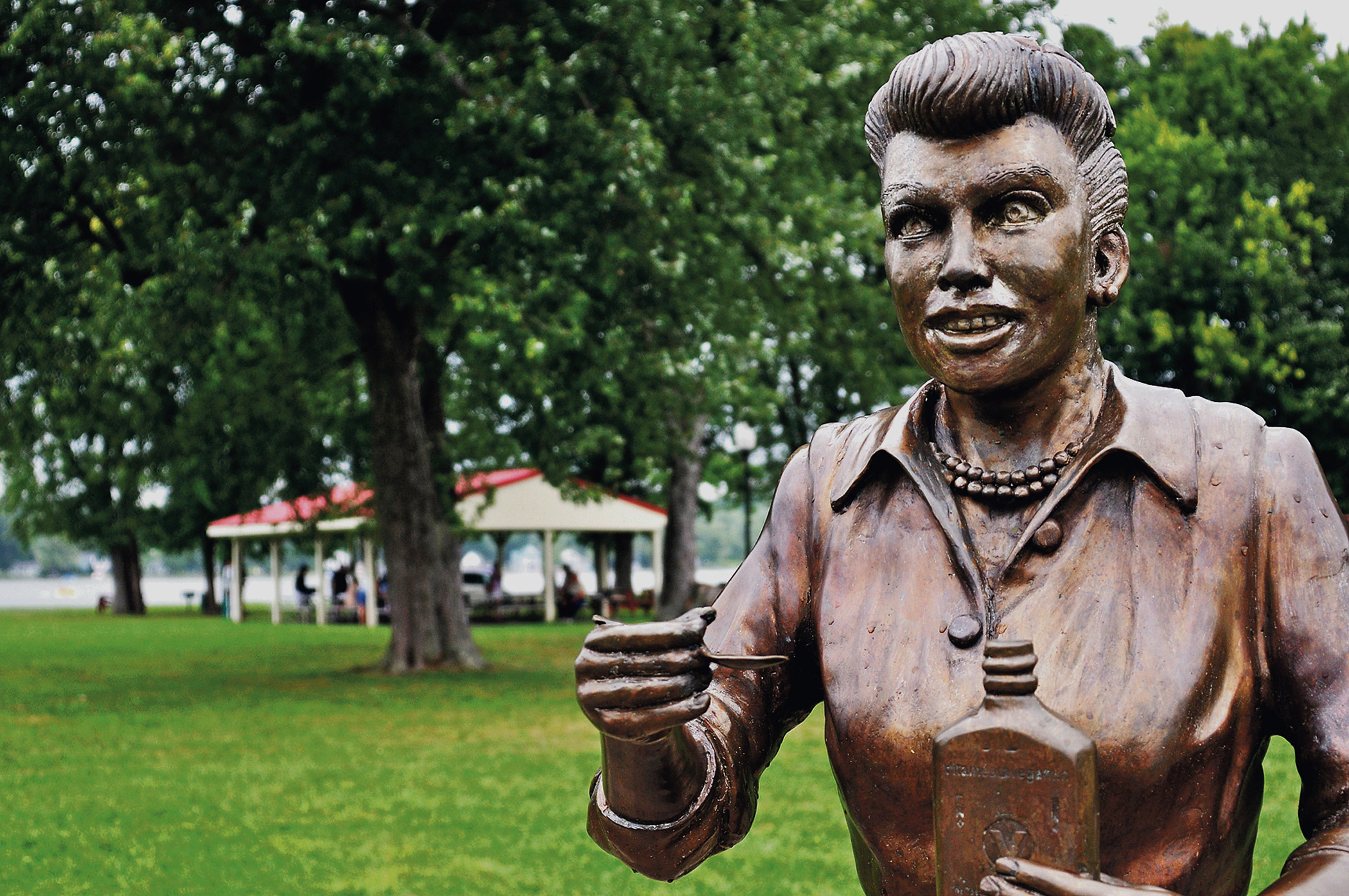 A bronze sculpture of Lucille Ball is displayed in Lucille Ball Memorial Park in Celoron, N.Y.