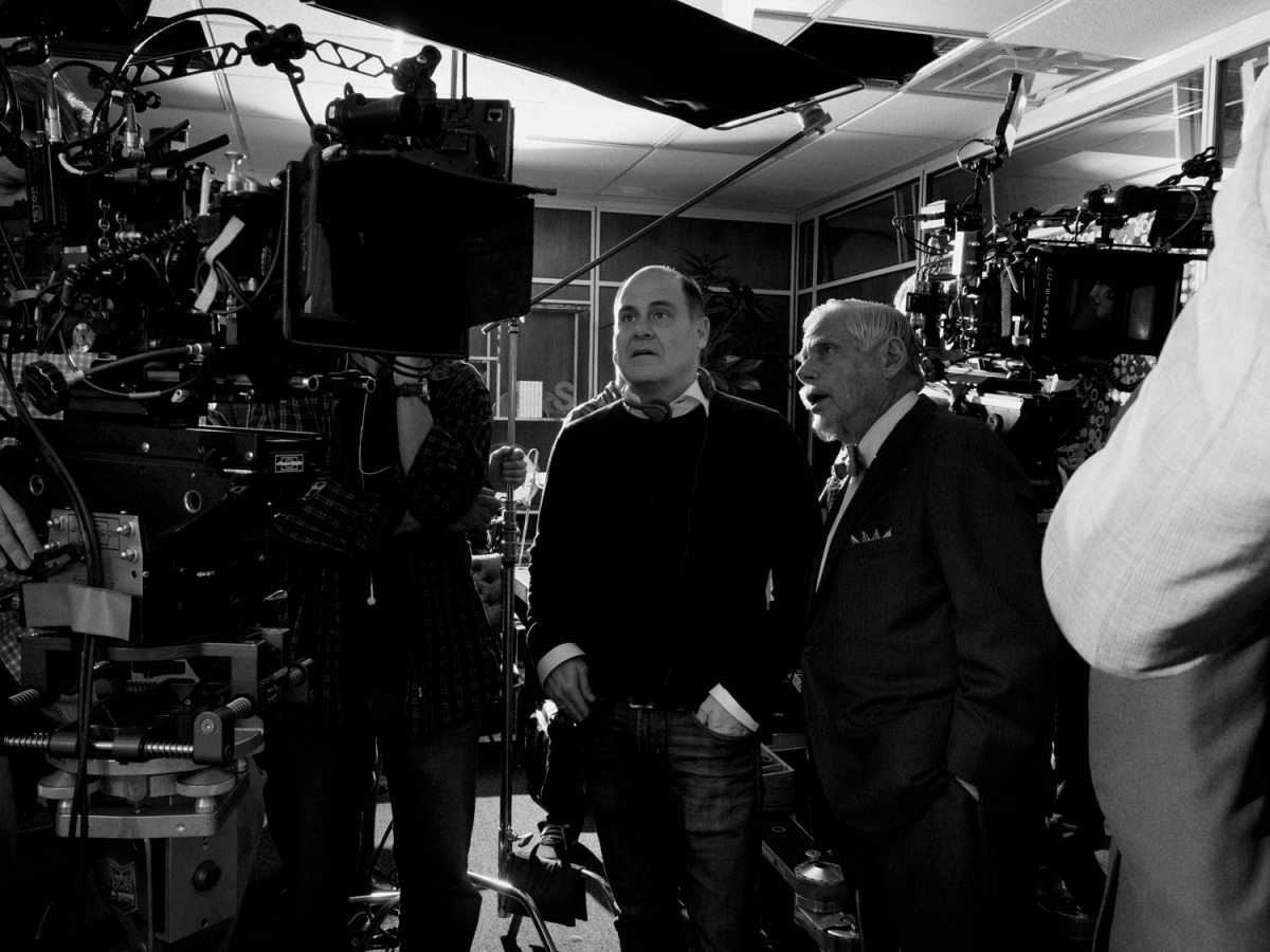 February 2014. From left: Matthew Weiner, Creator of Mad Men and Robert Morse who plays Bertram Cooper, behind the scenes of Mad Men's seventh and final season, Los Angeles.