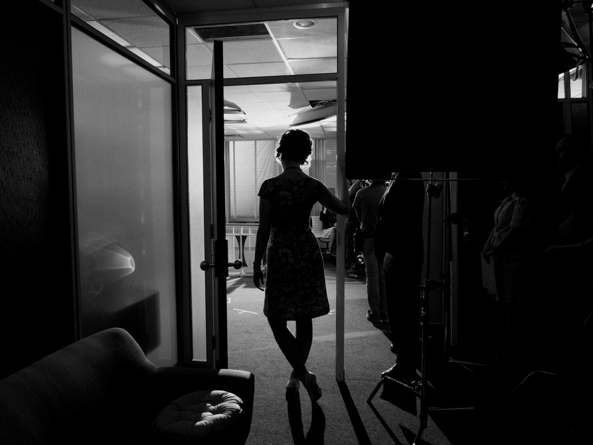 February 2014. Christina Hendricks as Joan Harris behind the scenes on set of Mad Men's seventh and final season, Los Angeles.