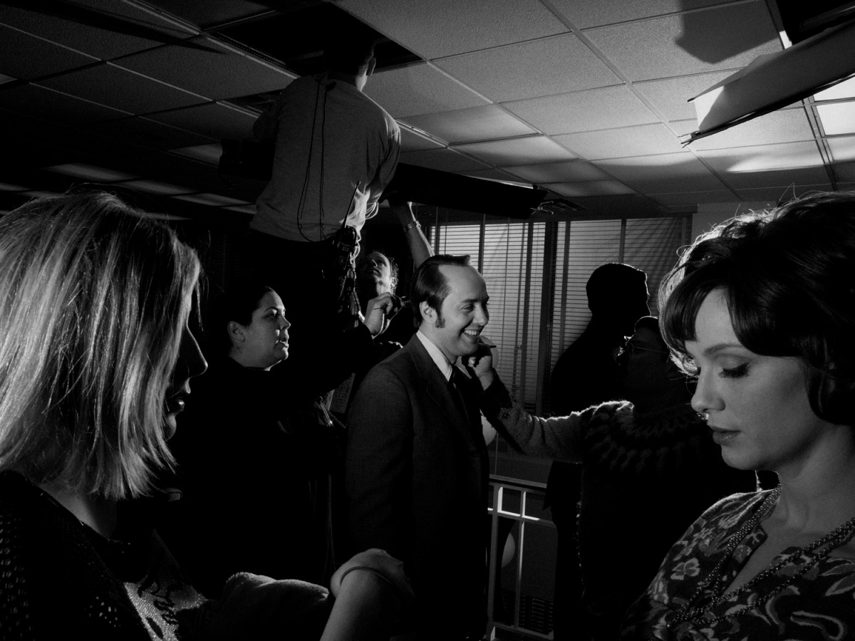 February 2014. From center: Vincent Kartheiser as Pete Campbell and Christina Hendricks as Joan Harris behind the scenes on set of Mad Men's seventh and final season, Los Angeles.