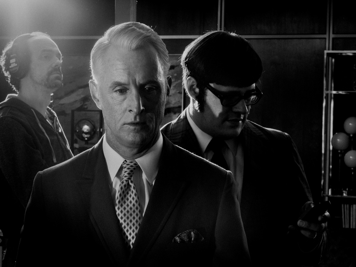 February 2014. From center: John Slattery as Roger Sterling and Rich Sommer as Harry Crane  behind the scenes on set of Mad Men's seventh and final season, Los Angeles.