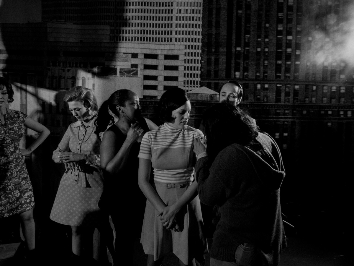 February 2014. From left: Christina Hendricks as Joan Harris, January Jones as Betty Draper, Elisabeth Moss as Peggy Olson, and Vincent Kartheiser as Pete Campbell on the set of Mad Men's seventh and final season, Los Angeles.
