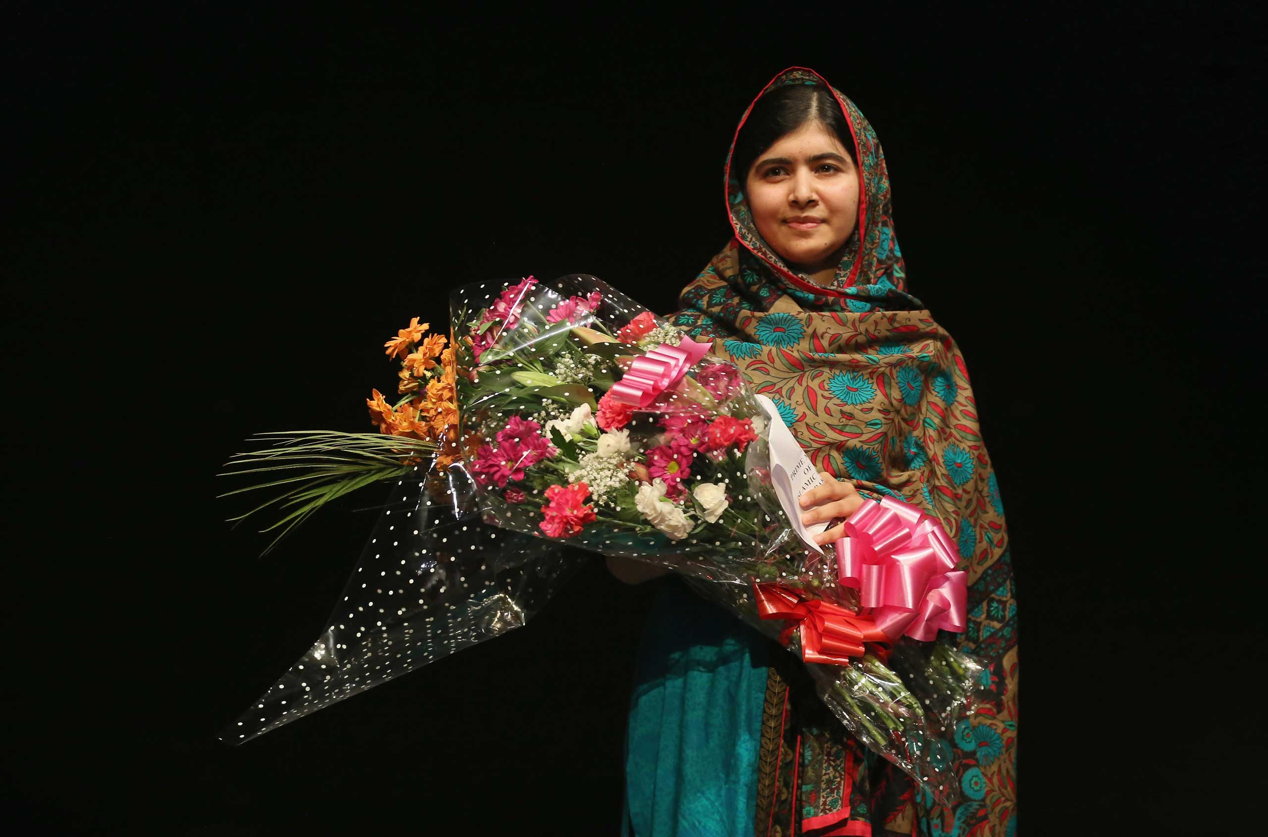 Malala Yousafzai after being announced as a recipient of the Nobel Peace Prize in Birmingham, England on Oct. 10, 2014.