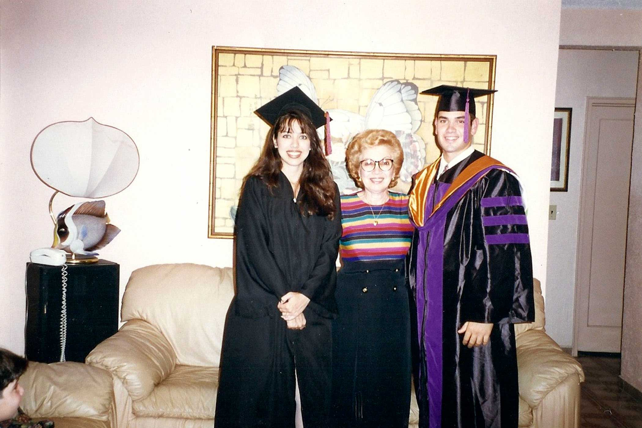 From right Marco Rubio with his mother and sister Veronica during his graduation from the University of Miami law school in 1996. Veronica graduated from Florida international university bachelor's degree.