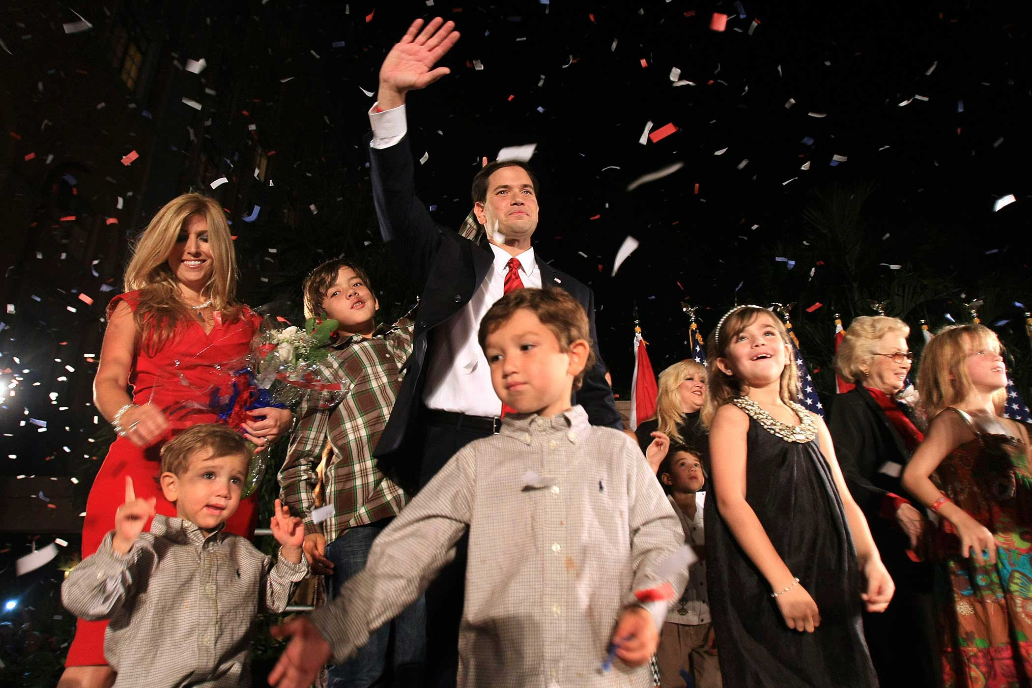 Then Florida Republican U.S. Senate nominee Marco Rubio celebrates with his family after winning the election in Coral Gables, Fla., on Nov. 2, 2010.