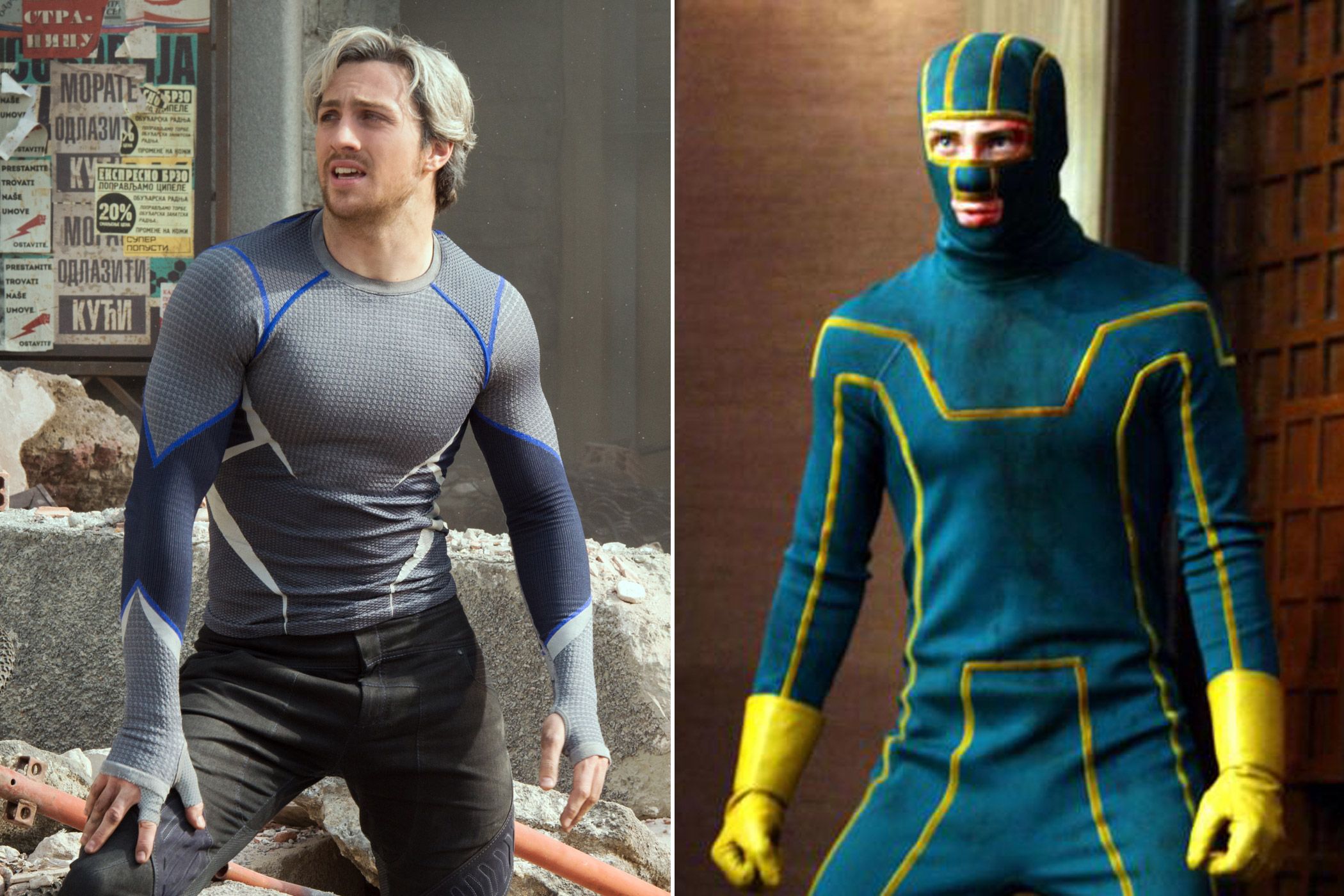 "Aaron Taylor-Johnson as Pietro Maximoff/Quicksilver in <i>Avengers: Age of Ultron</i> and David ""Dave"" Lizewski/Kick-Ass in <i>Kick-Ass</i>"
