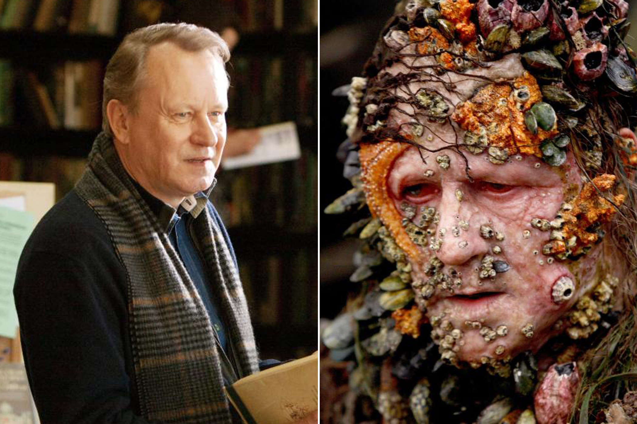 Stellan Skarsgård as Dr. Erik Selvig in <i>Thor</i> and Bootstrap Bill Turner in <i>                                   Pirates of the Caribbean: At World's End</i>