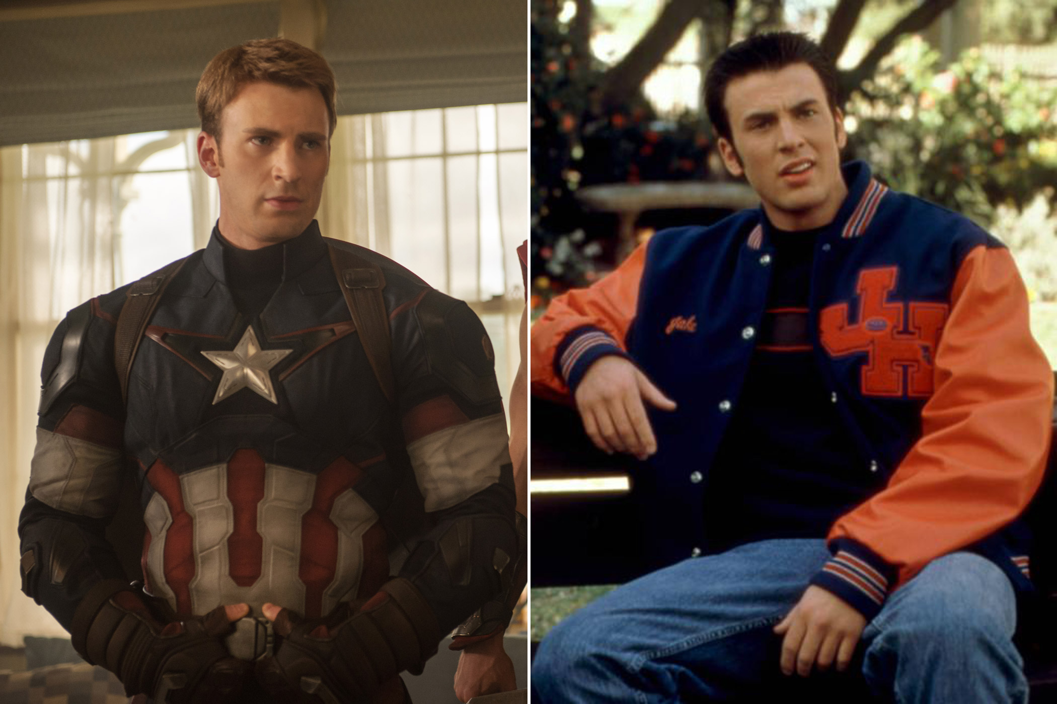 Chris Evans as Steve Rogers/Captain America in <i>The Avengers: Age of Ultron</i> and Jake Wyler in <i>Not Another Teen Movie</i>
