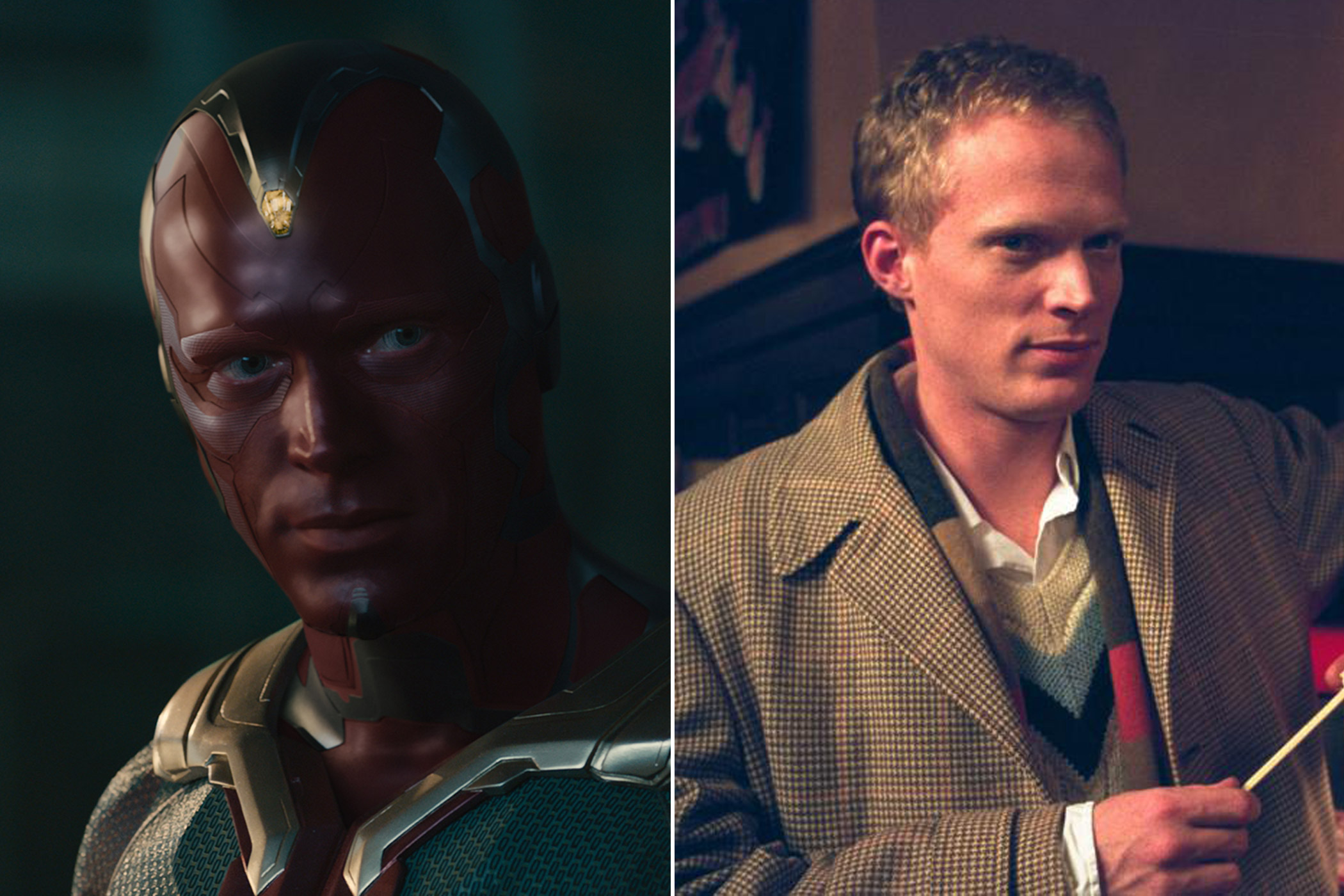 Paul Bettany as Vision in <i>The Avengers: Age of Ultron</i> and Charles Herman in <i>A Beautiful Mind</i>