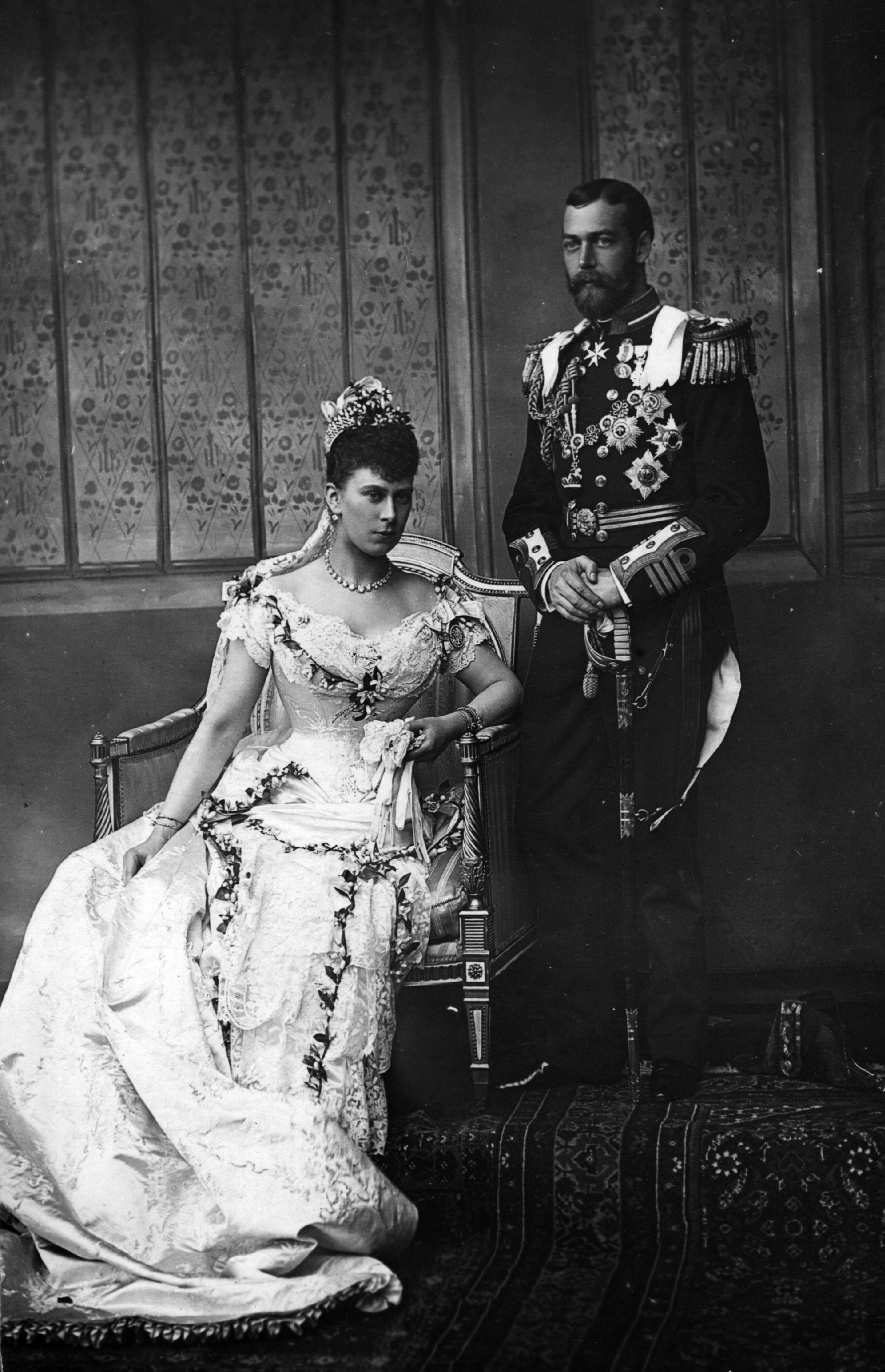 King George V on his wedding day with his bride Princess Mary of Teck on July 6, 1893.