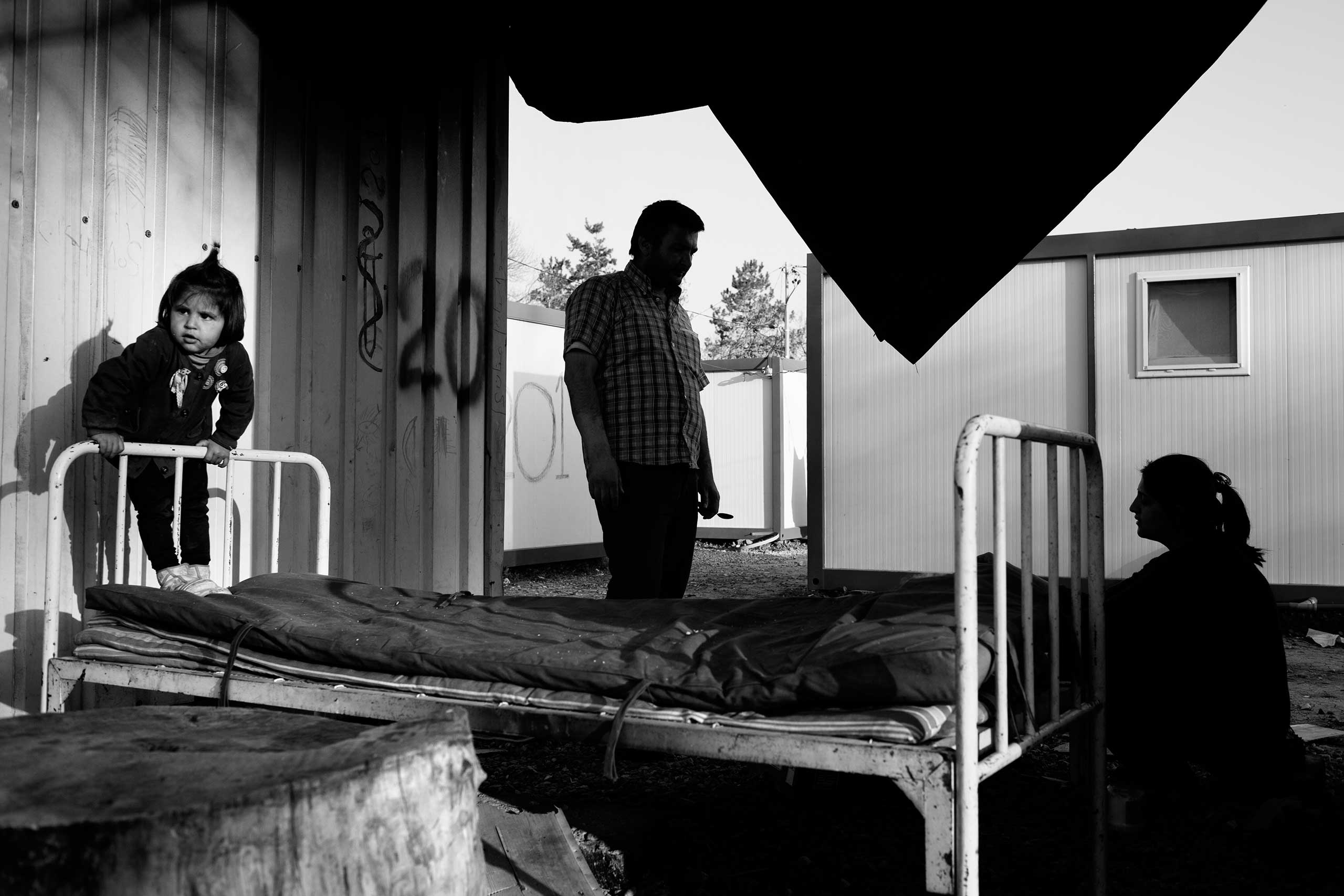 MSNBC: A look at one young Syrian refugee's journey through EuropeA Syrian family outside one of the containers in a former Bulgarian military base that was turned into a refugee camp in Harmanli, Bulgaria, 2014.