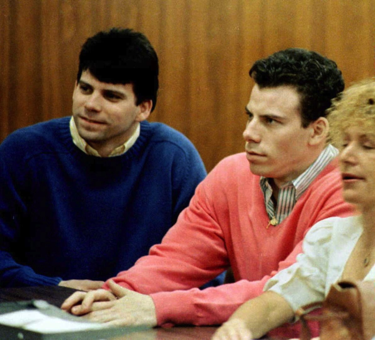 Double murder defendants Erik (R) and Lyle Menendez (L) during a court appearance in Los Angeles, Calif., in 1992