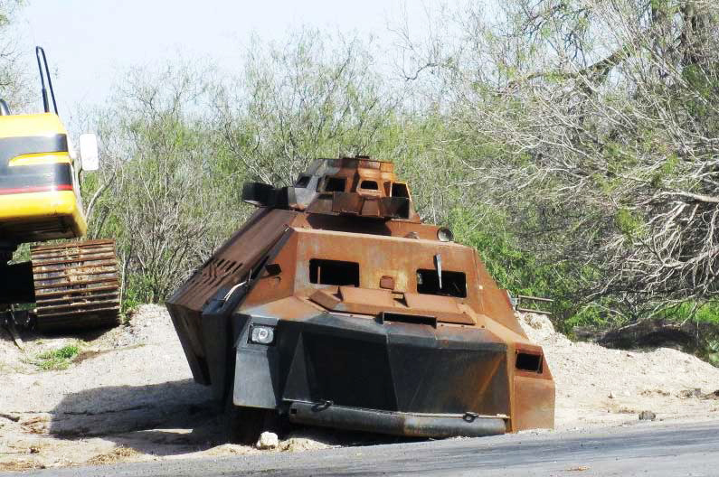 Improvised armored vehicle captured from the Zetas cartel.