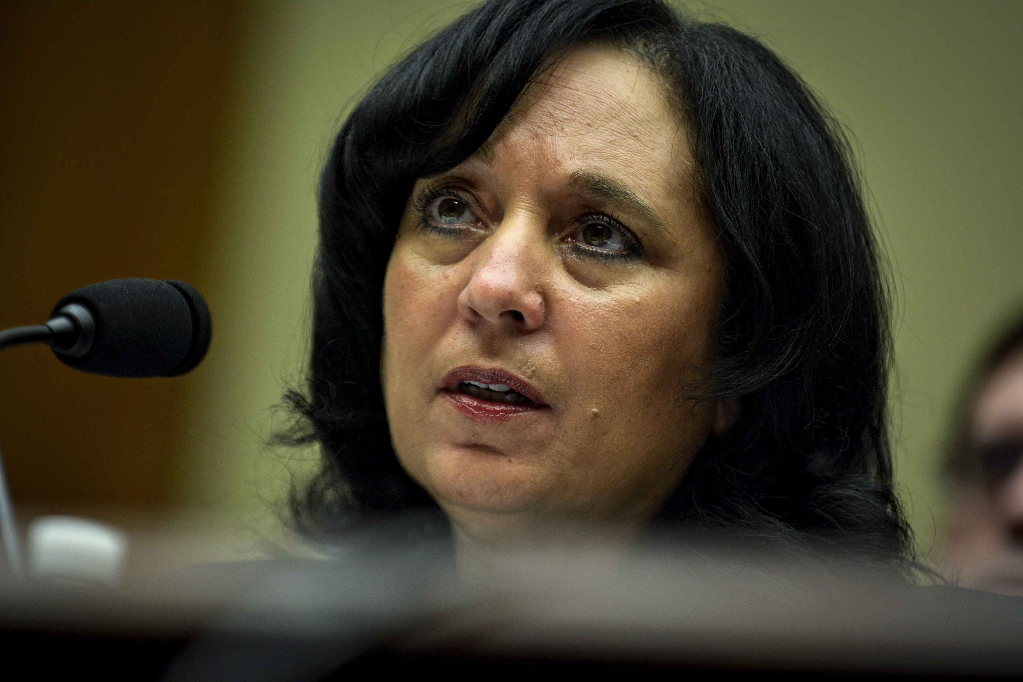 DEA administrator Michele Leonhart testifies before the House Committee on Oversight and Government Reform in a hearing on sexual harassment and misconduct allegations at the DEA and FBI in Washington on April 14, 2015.