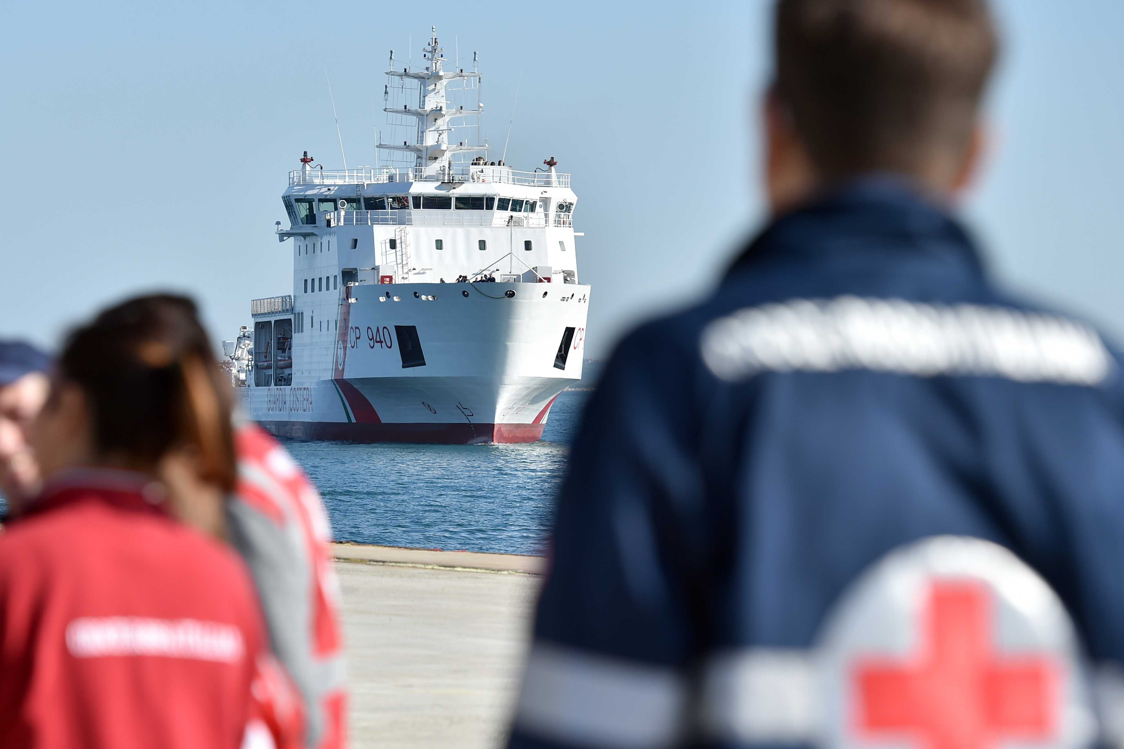 The Italian Coast Guard ship  Dattilo , carrying hundreds of migrants rescued in the Mediterranean Sea arrives at the Augusta harbor, near Siracusa, Sicily, Italy, April 16, 2015.