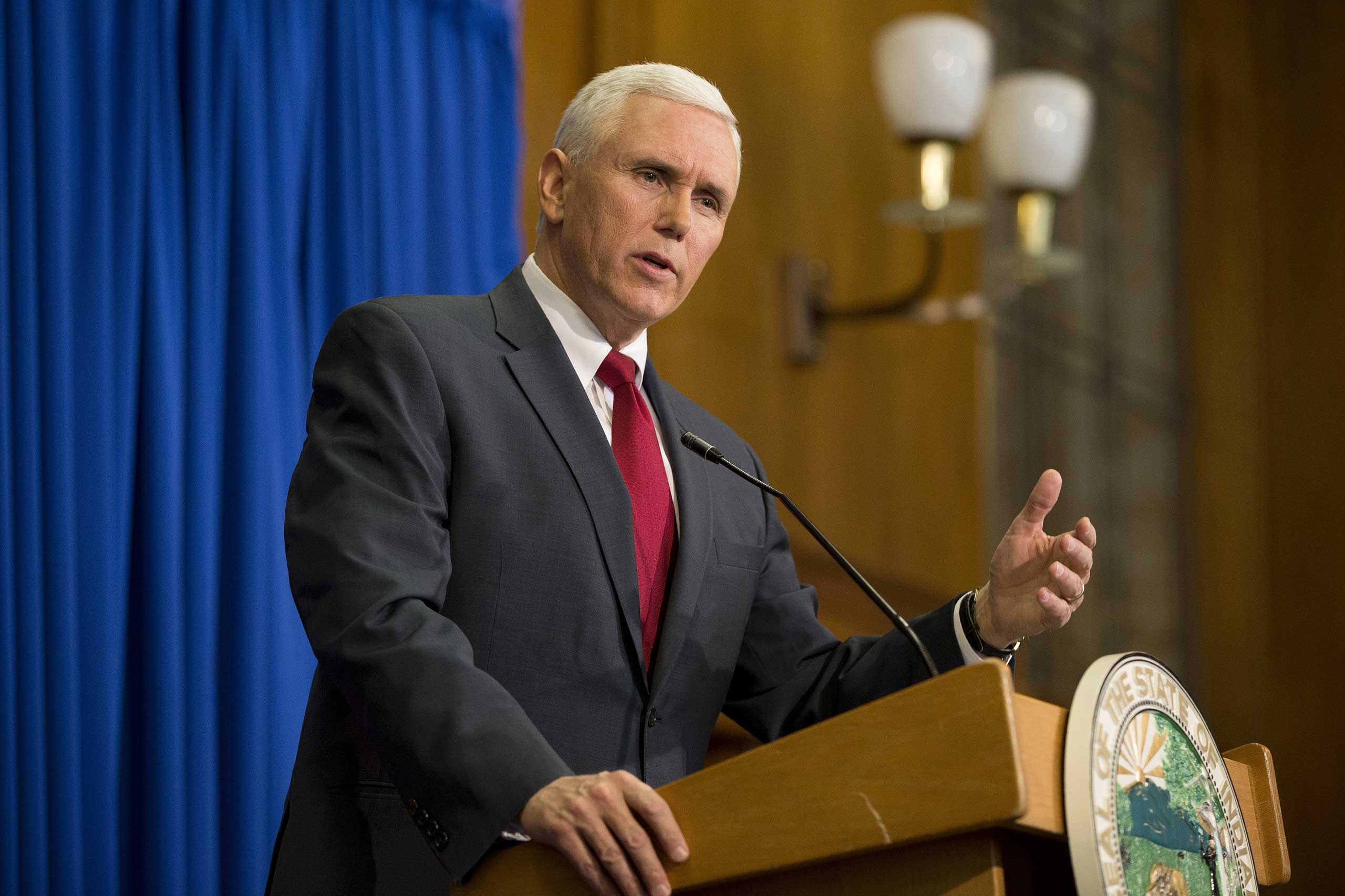 Indiana Gov. Mike Pence speaks during a press conference at the Indiana State Library in Indianapolis on March 31, 2015.