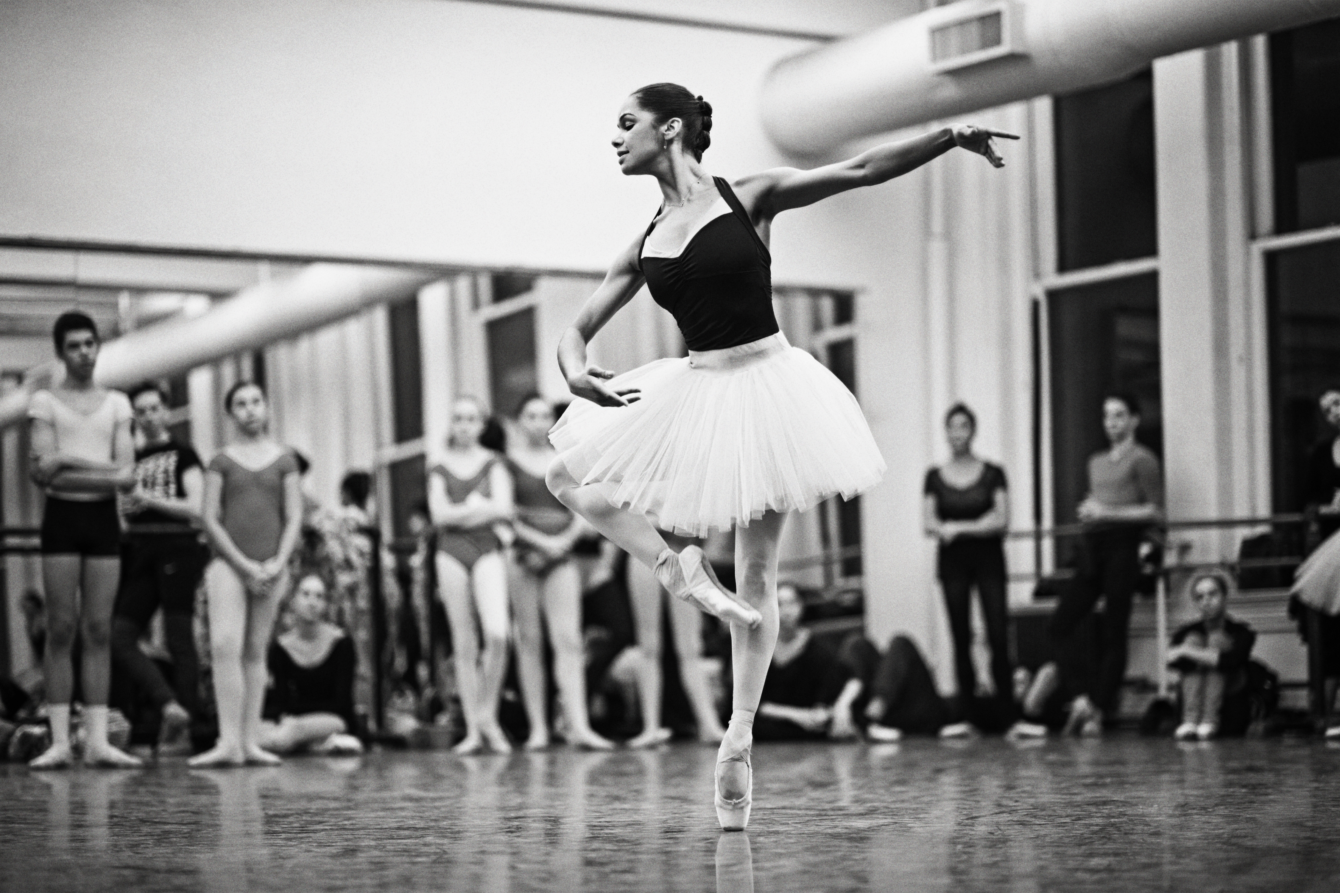 Photograph of author, entertainer, and  American ballet dancer Misty Copeland photographed for Time on February 24th, 2015 at the American Ballet Theater in New York.
