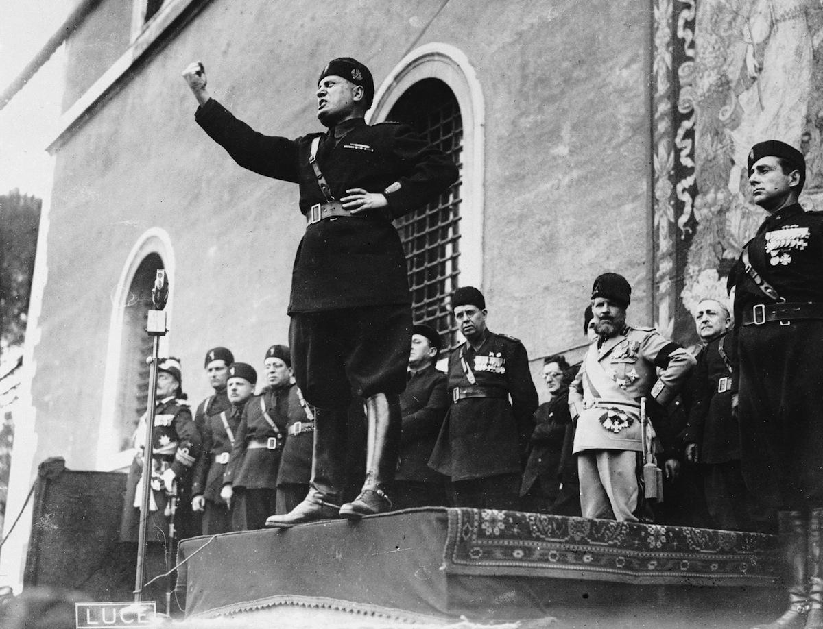 Italian fascist dictator Benito Mussolini giving a speech in 1935