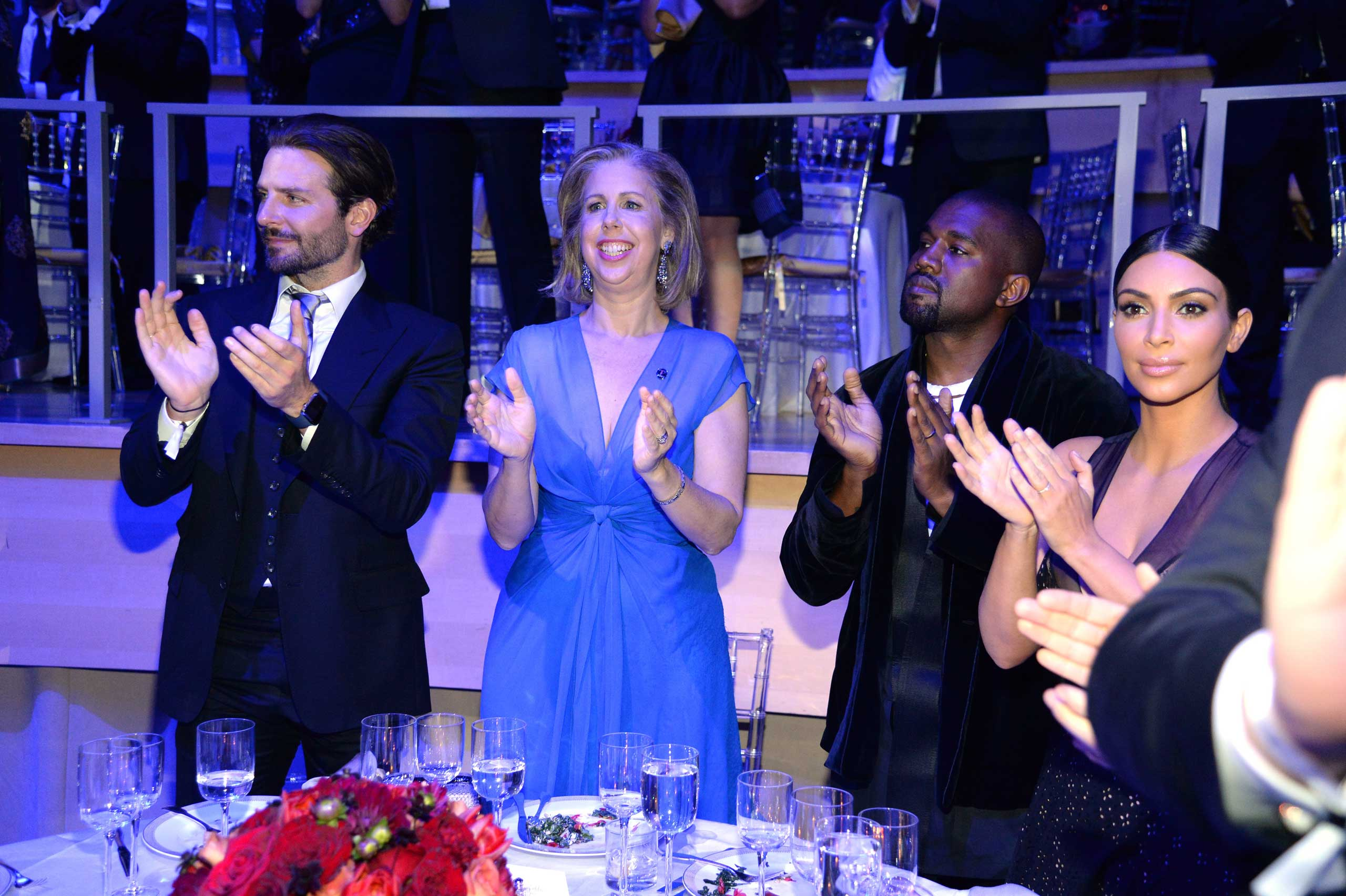 Bradley Cooper, Nancy Gibbs, Kanye West, and Kim Kardashian West attend the TIME 100 gala at Jazz at Lincoln Center in New York City on Apr. 21, 2015.