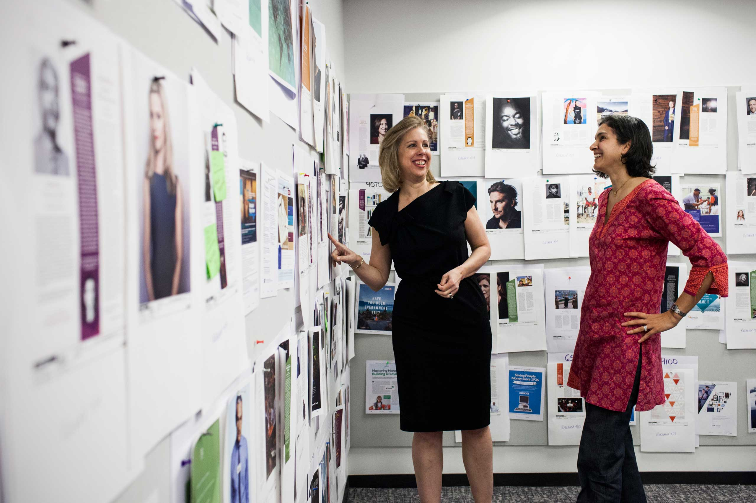 Nancy Gibbs, left, and Radhika Jones review pages for the Time 100