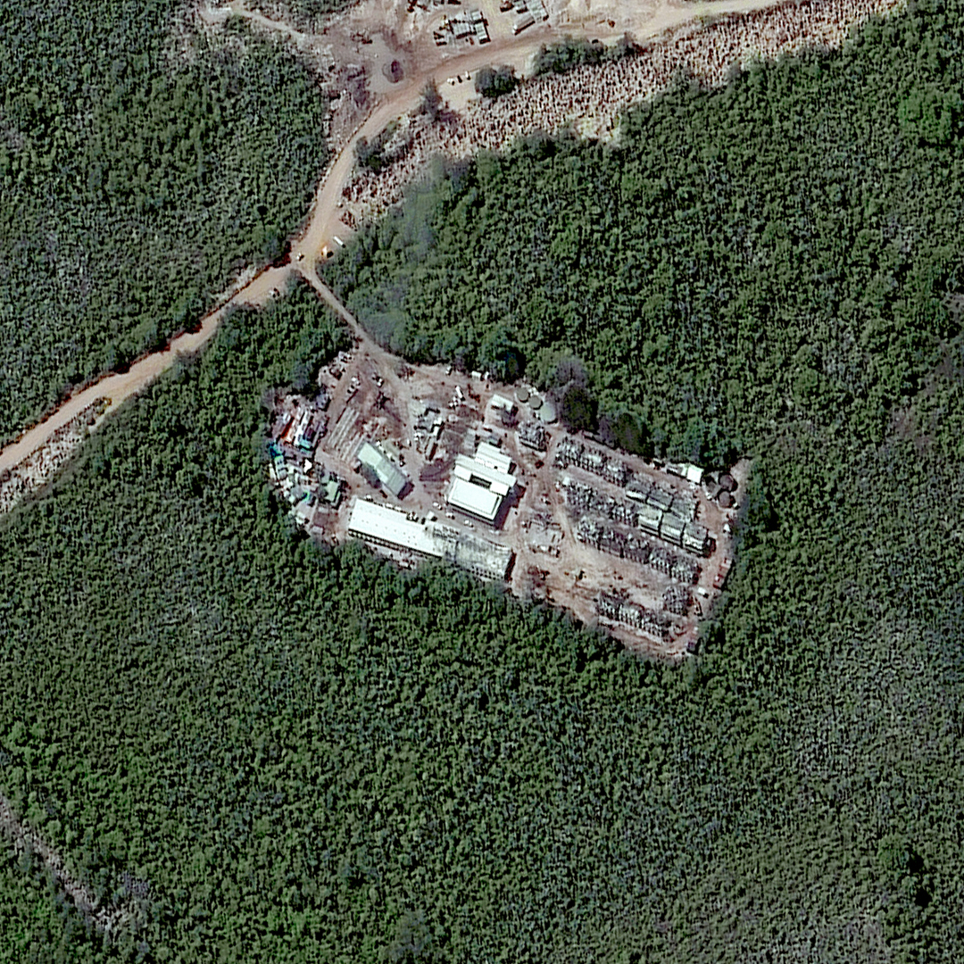 This is an closeup satellite image of the Topside detention camp in Nauru taken on July 24, 2013.
