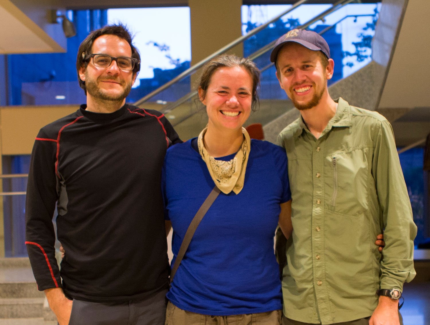 Corey Ascolani, 34, Della Hoffman, 31, and Eric Jean, 32, at the U.S. Embassy in Kathmandu, Nepal, on April 30, 2015
