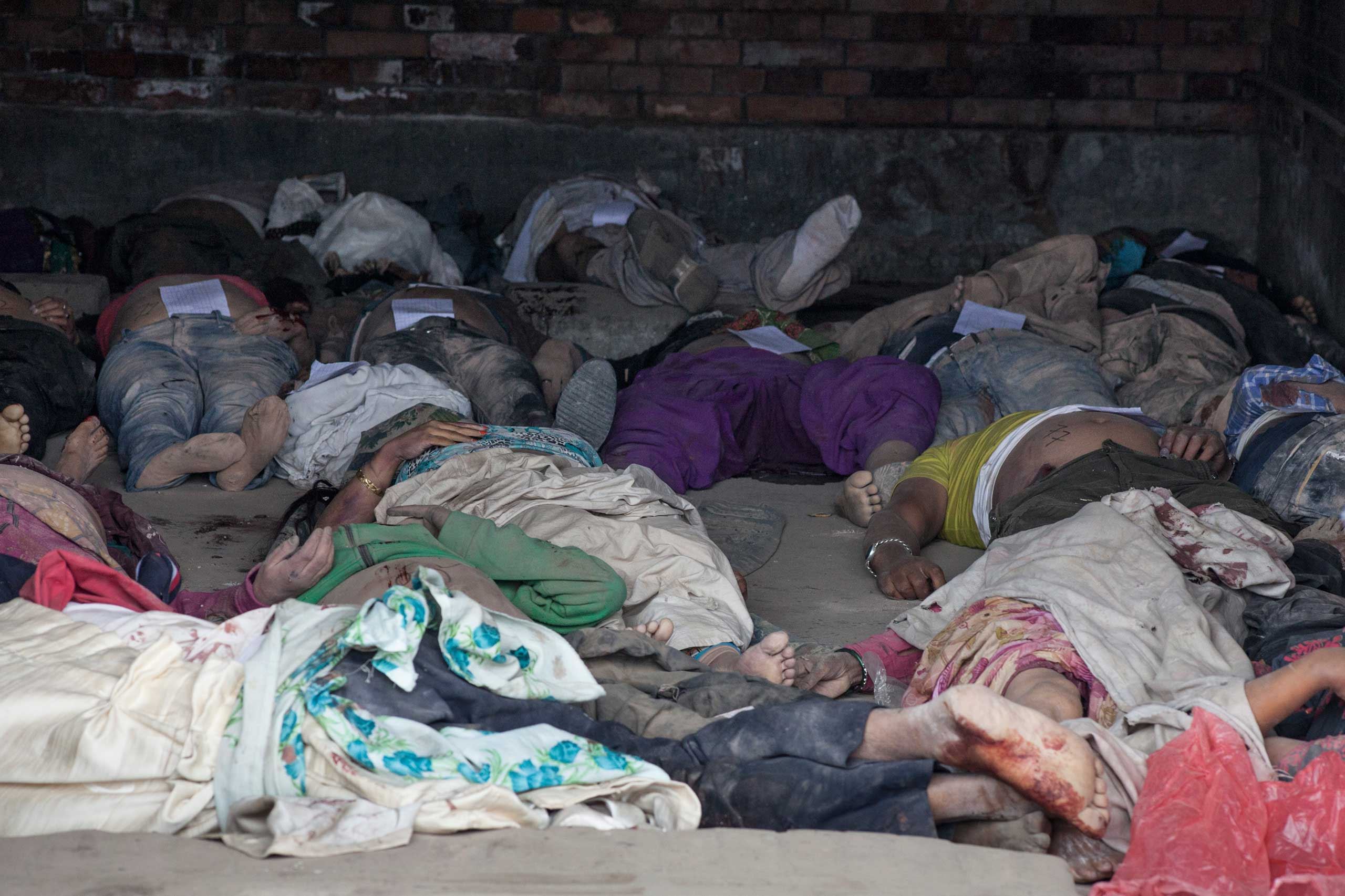 Bodies kept for identification at Tribhuvan University Teaching Hospital in Maharajgunj, Kathmandu, on April 26, 2015.