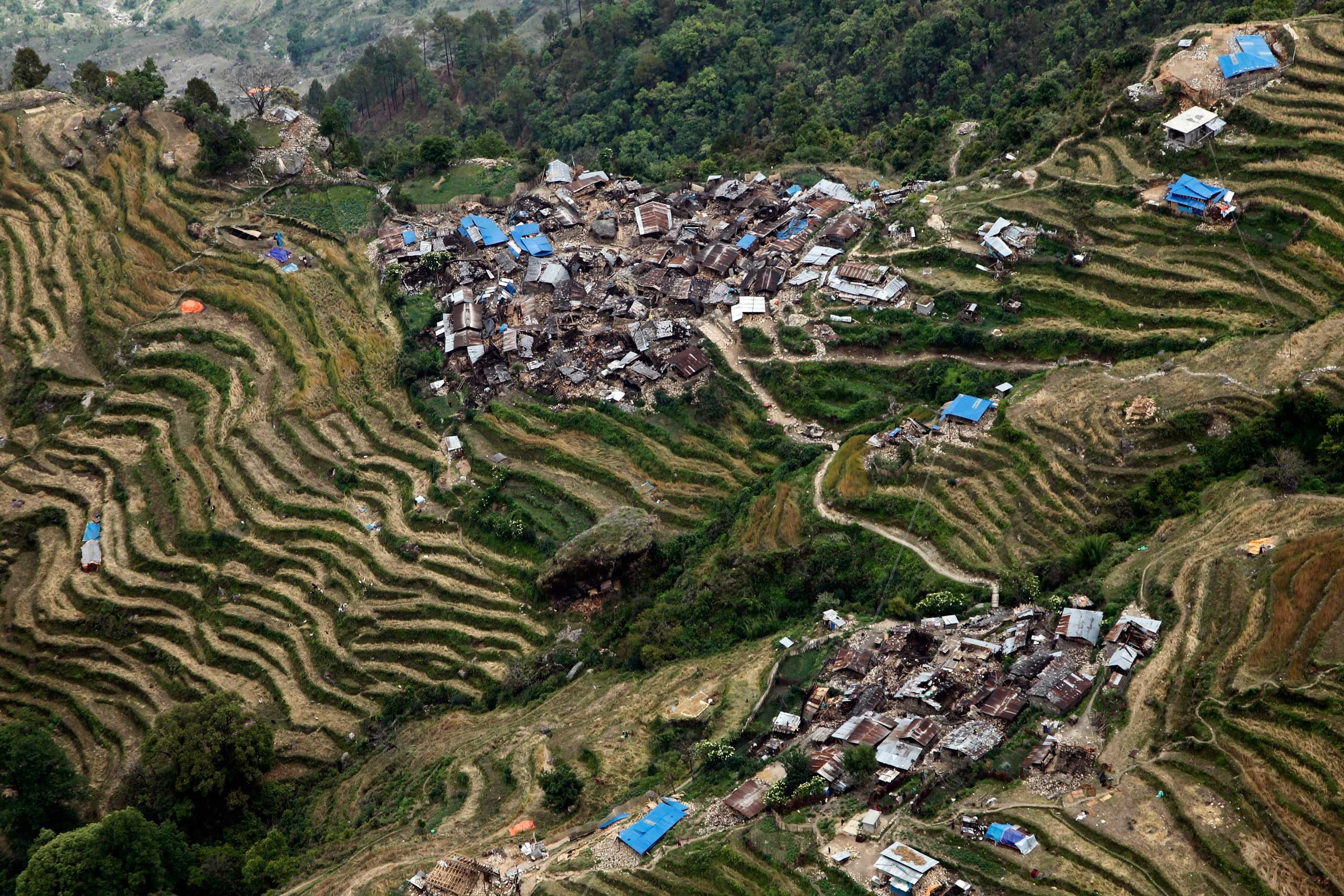 Destroyed villages sit on mountain tops near the epicenter of the massive earthquake, in the Gorkha District of Nepal on April 29, 2015.