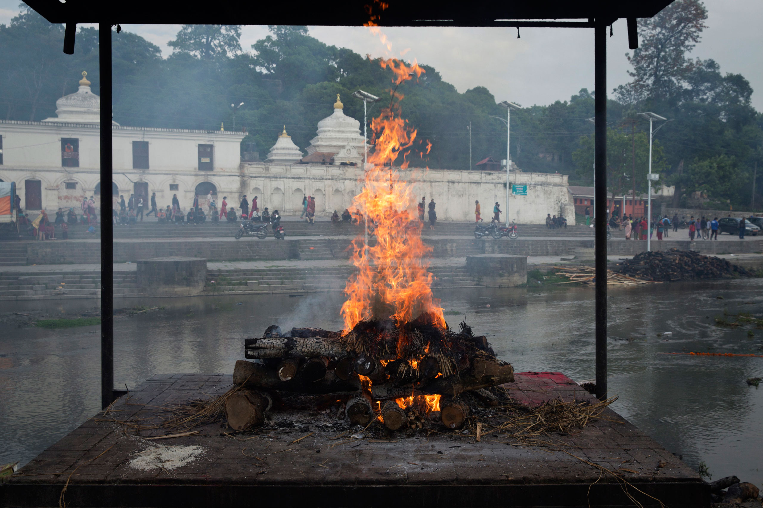 A funeral pyre built for a person killed in the earthquake, on the river in Kathmandu, April 27, 2015.