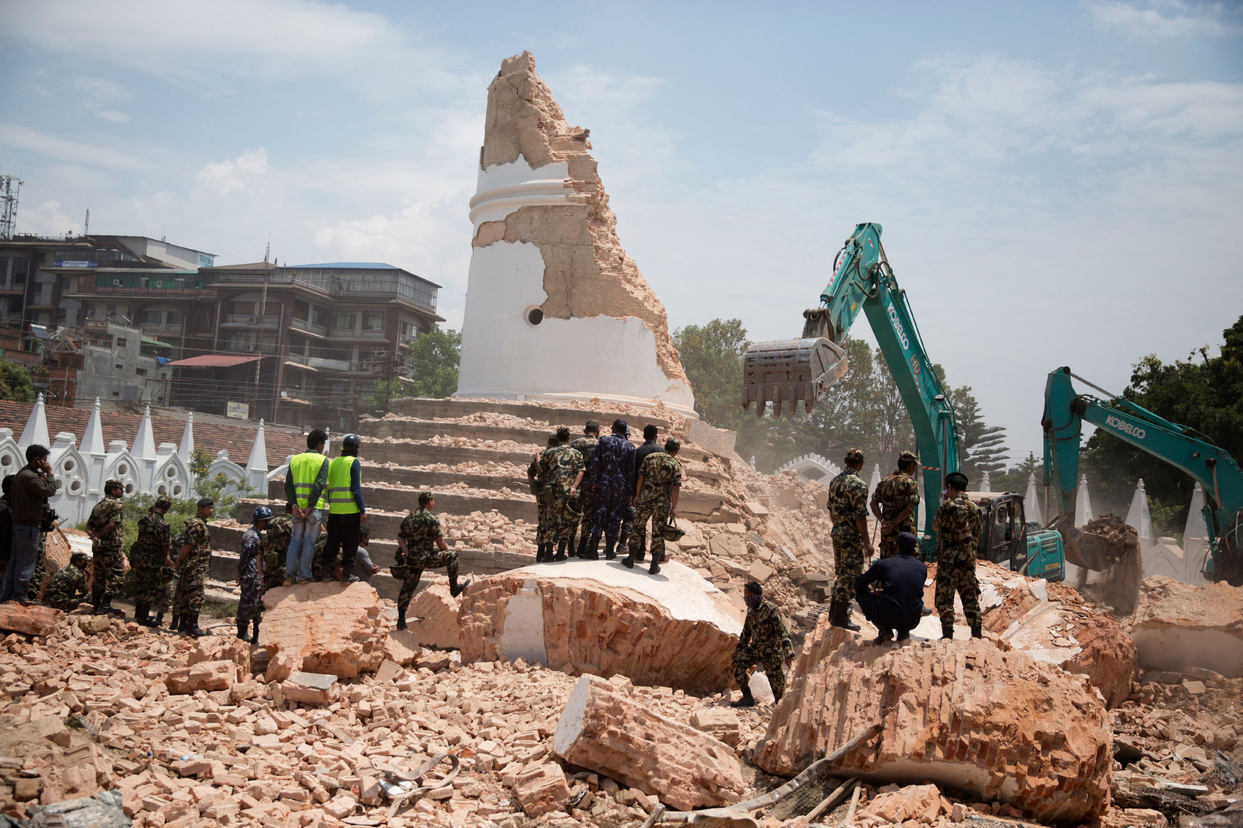 Nepalese forces excavate the Dharahara tower in Kathmandu, April 26, 2015. The building, a UNESCO world heritage site, was severely damaged in the earthquake.