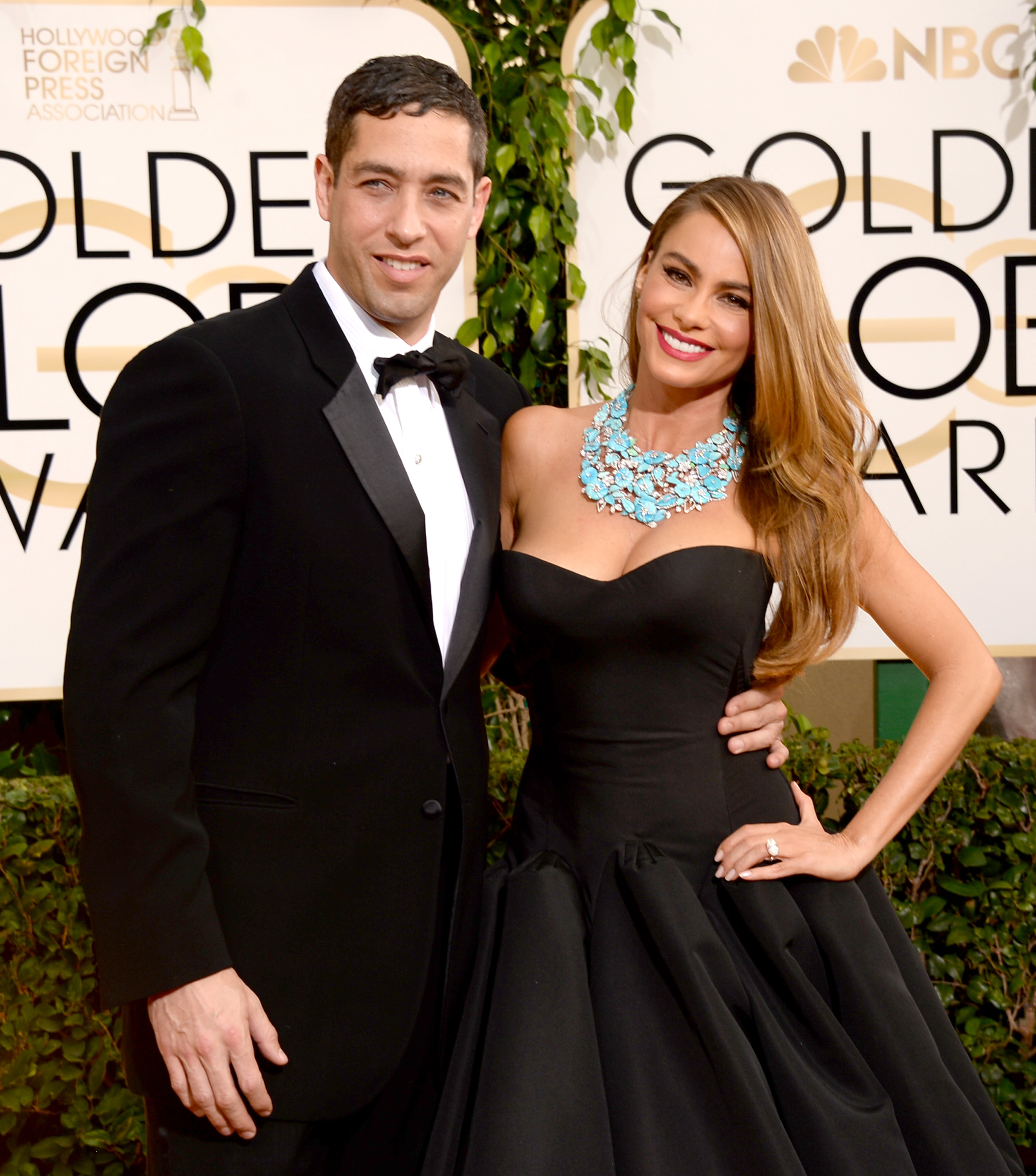 Nick Loeb (L) and actress Sofia Vergara attend the 71st Annual Golden Globe Awards held at The Beverly Hilton Hotel on Jan. 12, 2014 in Beverly Hills, Calif.