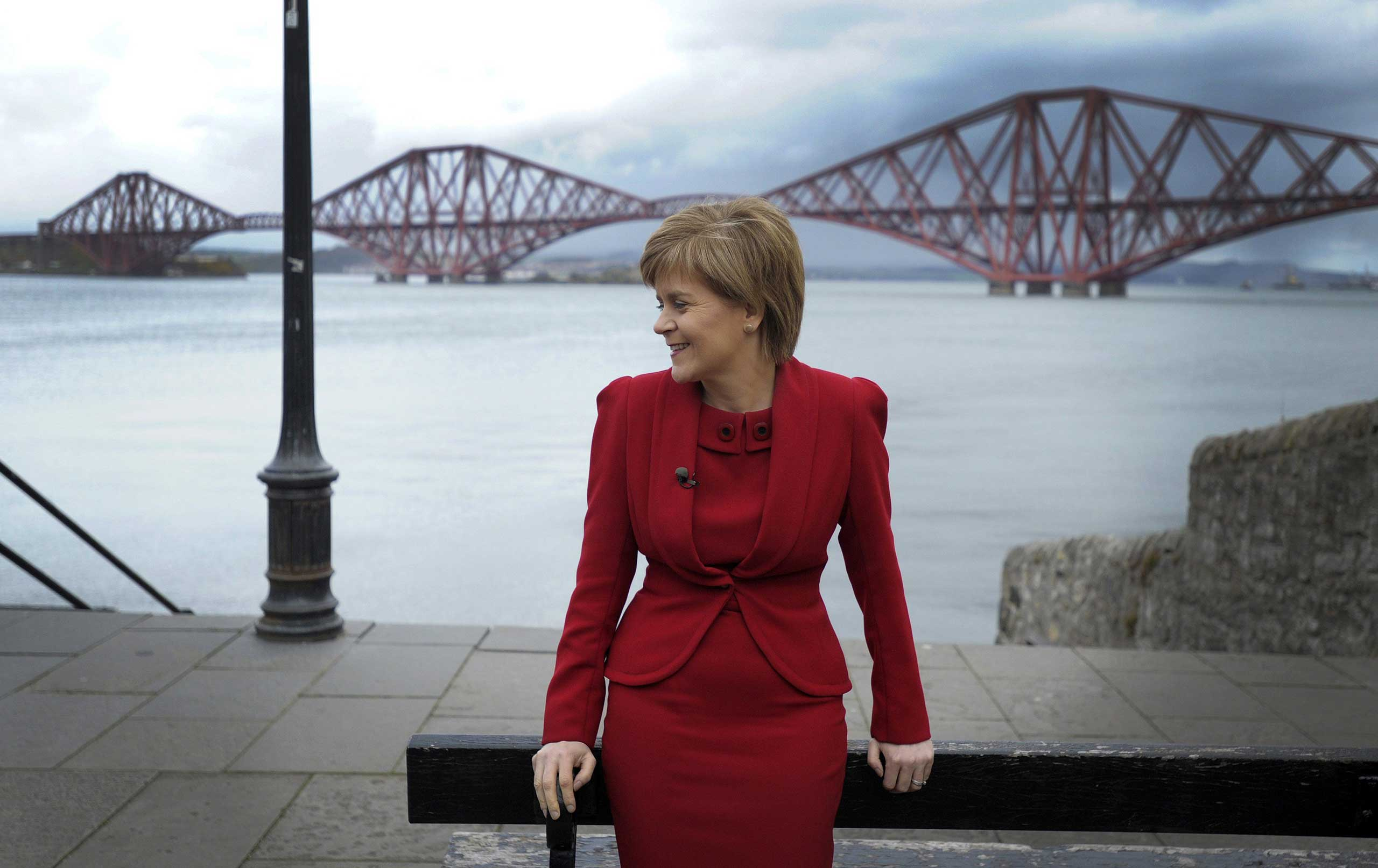 First Minister of Scotland and leader of the Scottish National Party Nicola Sturgeon campaigns in South Queensferry on the outskirts of Edinburgh on April 28, 2015.